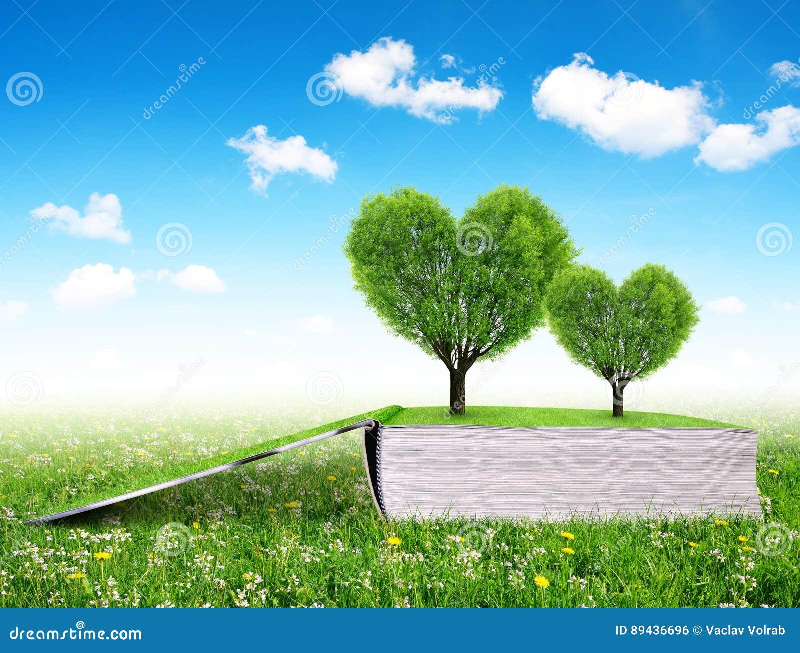 Libro Con Los árboles En La Forma Del Corazón Foto De Archivo