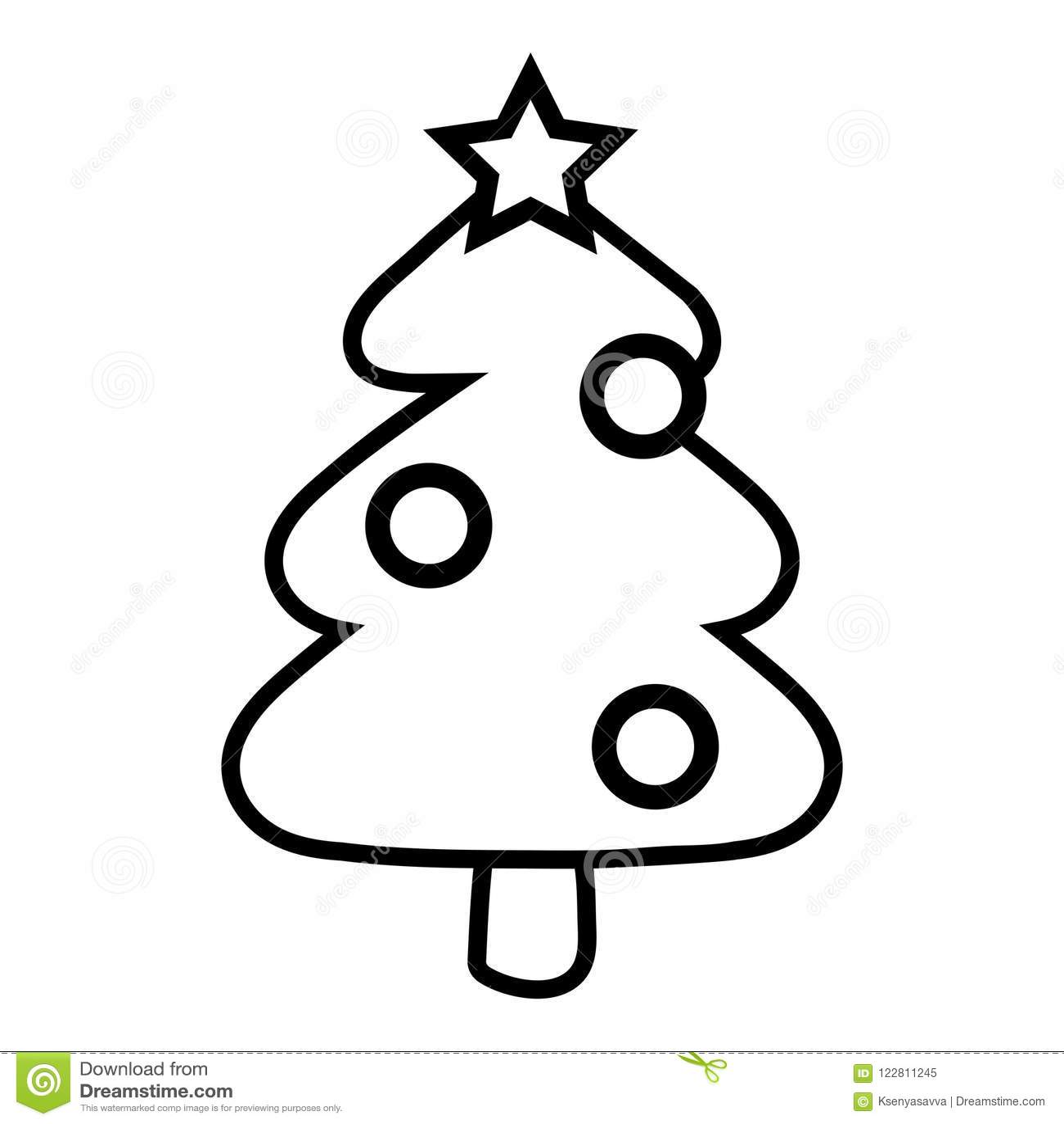 Albero Di Natale Immagini Da Colorare.Libro Da Colorare Albero Di Natale Illustrazione Vettoriale Illustrazione Di Isolato Illustrazione 122811245