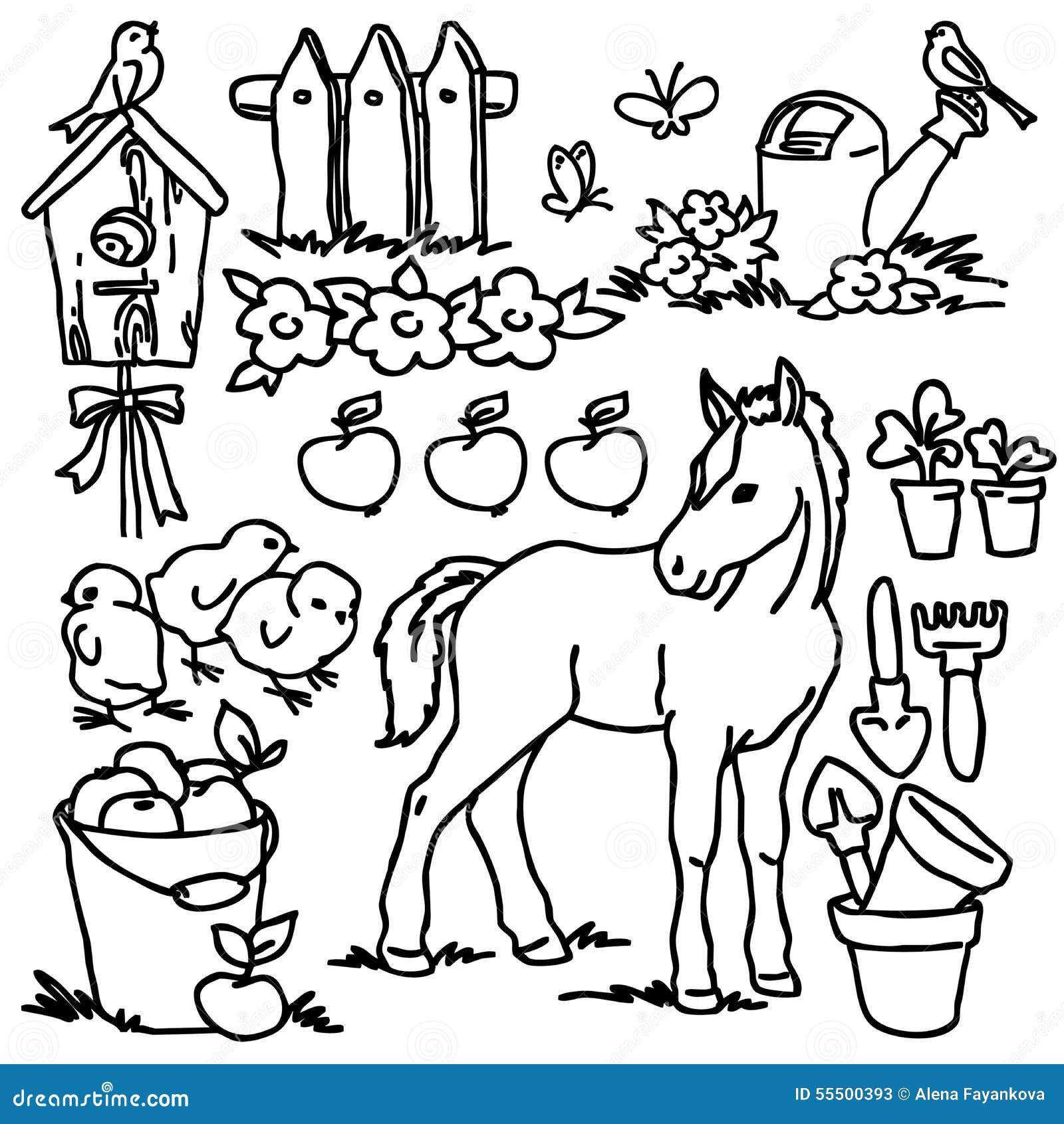 Libro Da Colorare Animali Da Allevamento Del Fumetto Illustrazione