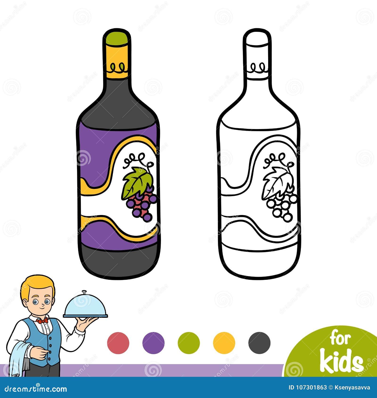 Libro Da Colorare Bottiglia Di Vino Illustrazione Vettoriale Illustrazione Di Pagina Libro 107301863