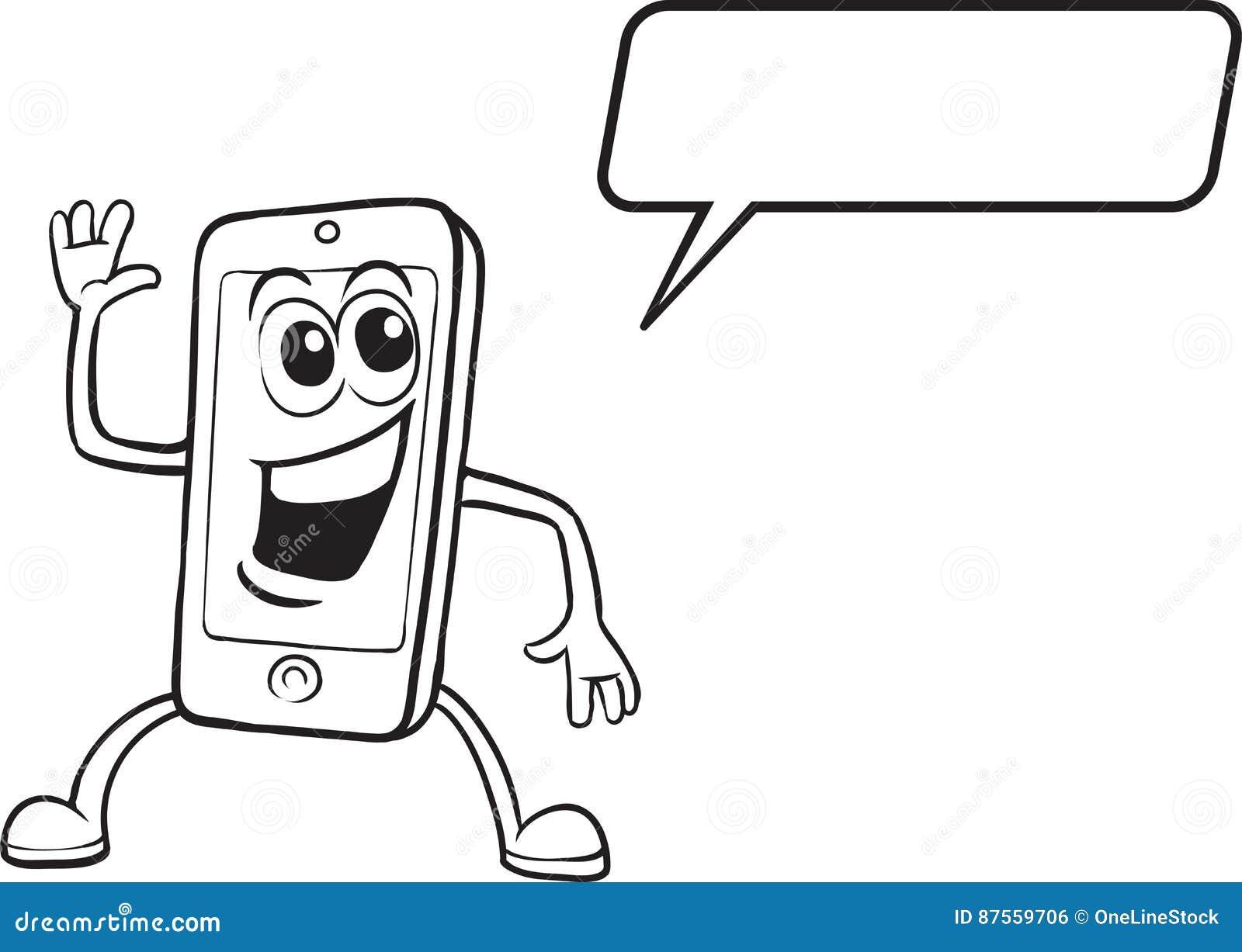 Libro Da Colorare Carattere Sorridente Del Telefono Cellulare Del