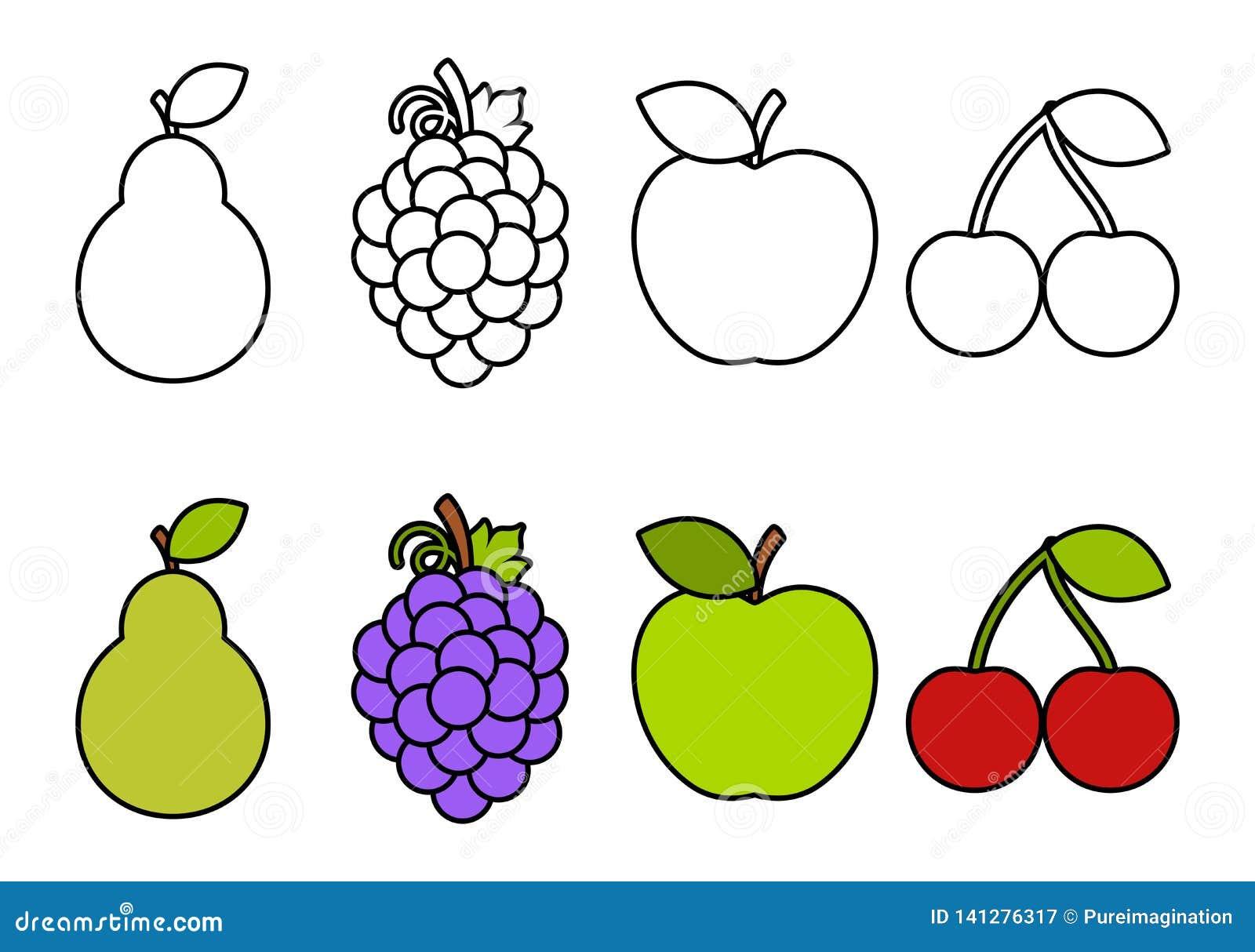 Libro Da Colorare Con I Frutti Coloranti Per I Bambini Illustrazione Vettoriale Illustrazione Di Nero Formazione 141276317