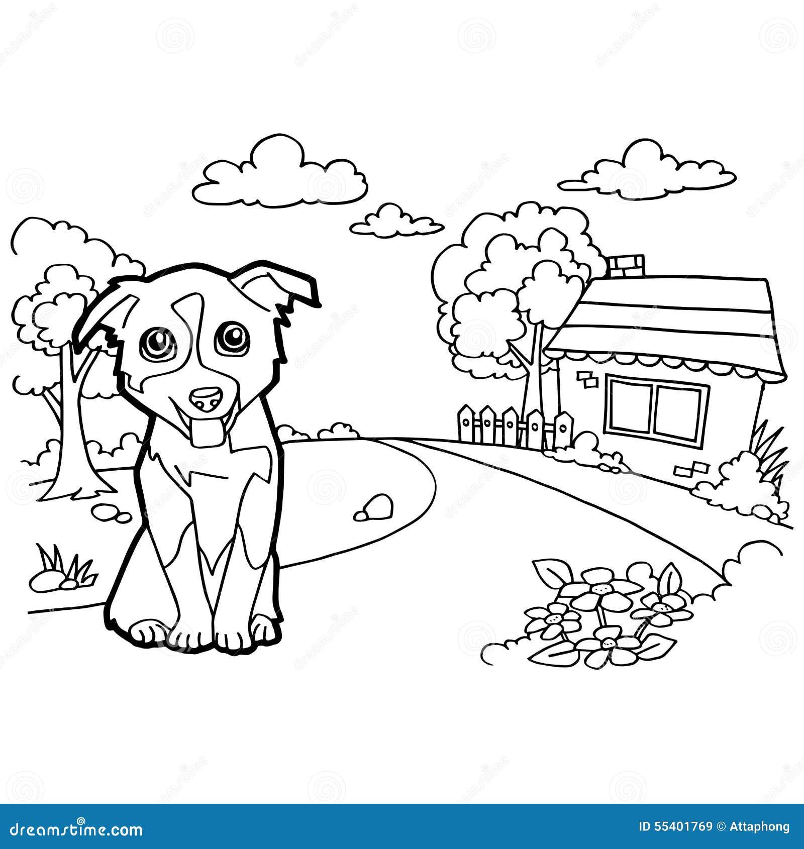 Libro da colorare con il cane e la casa illustrazione di - Colorare la casa ...