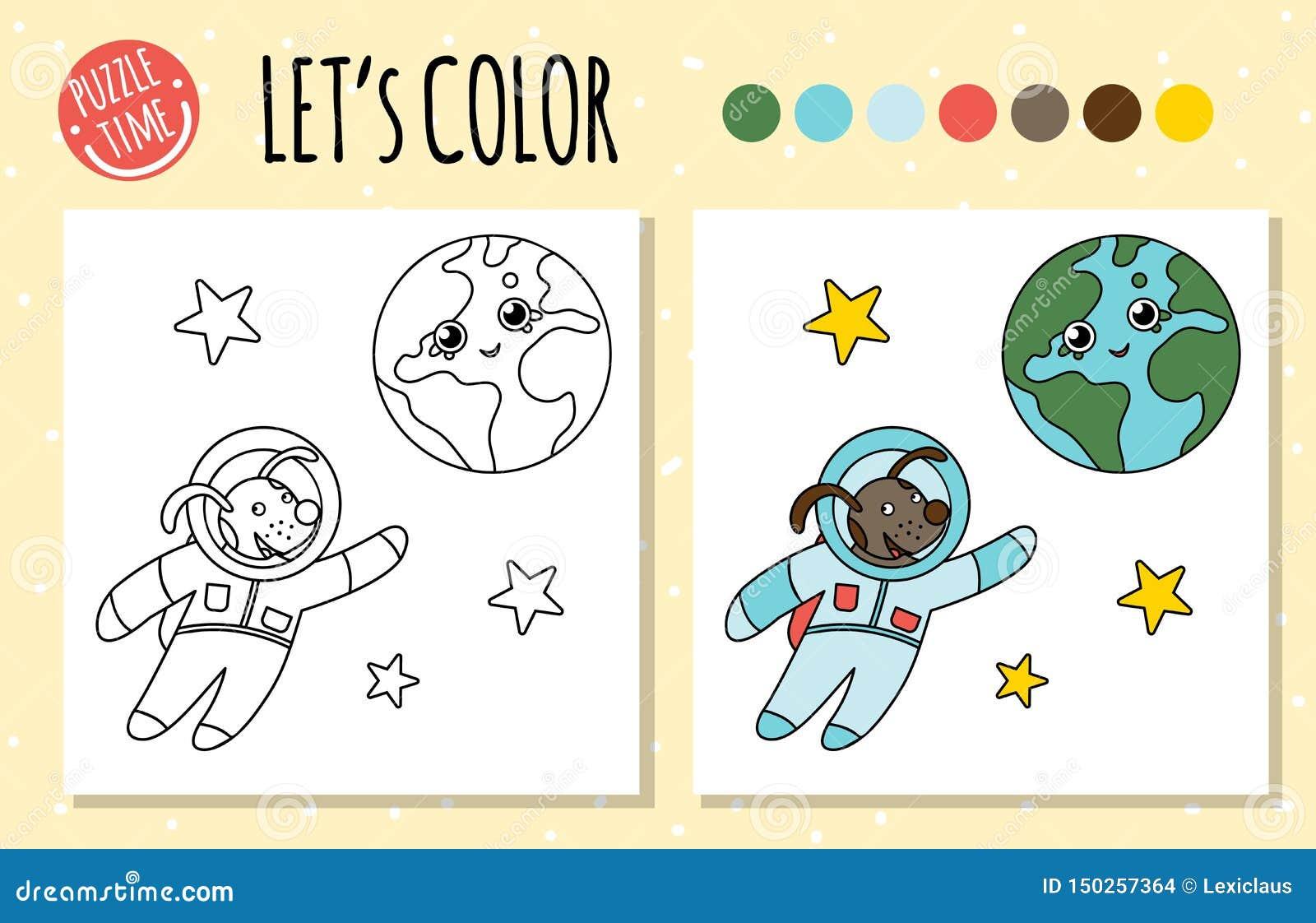 Libro Da Colorare Con L Astronauta E La Terra Illustrazione Vettoriale Illustrazione Di Gioco Coloring 150257364