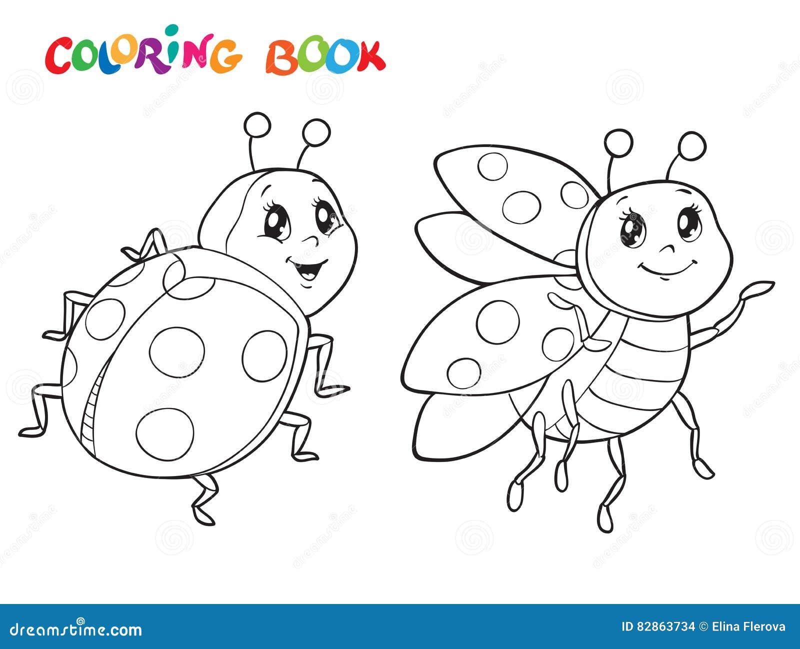 Libro Da Colorare Con La Coccinella Illustrazione Di Vettore Isolato