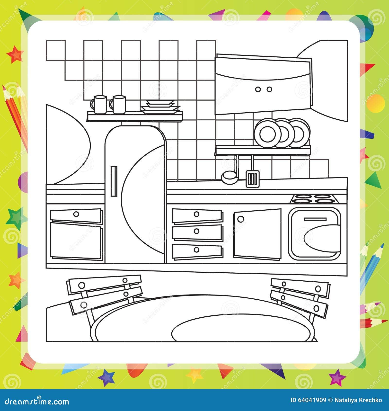 Libro da colorare con la cucina illustrazione di vettore illustrazione vettoriale - Colorare cucina ...