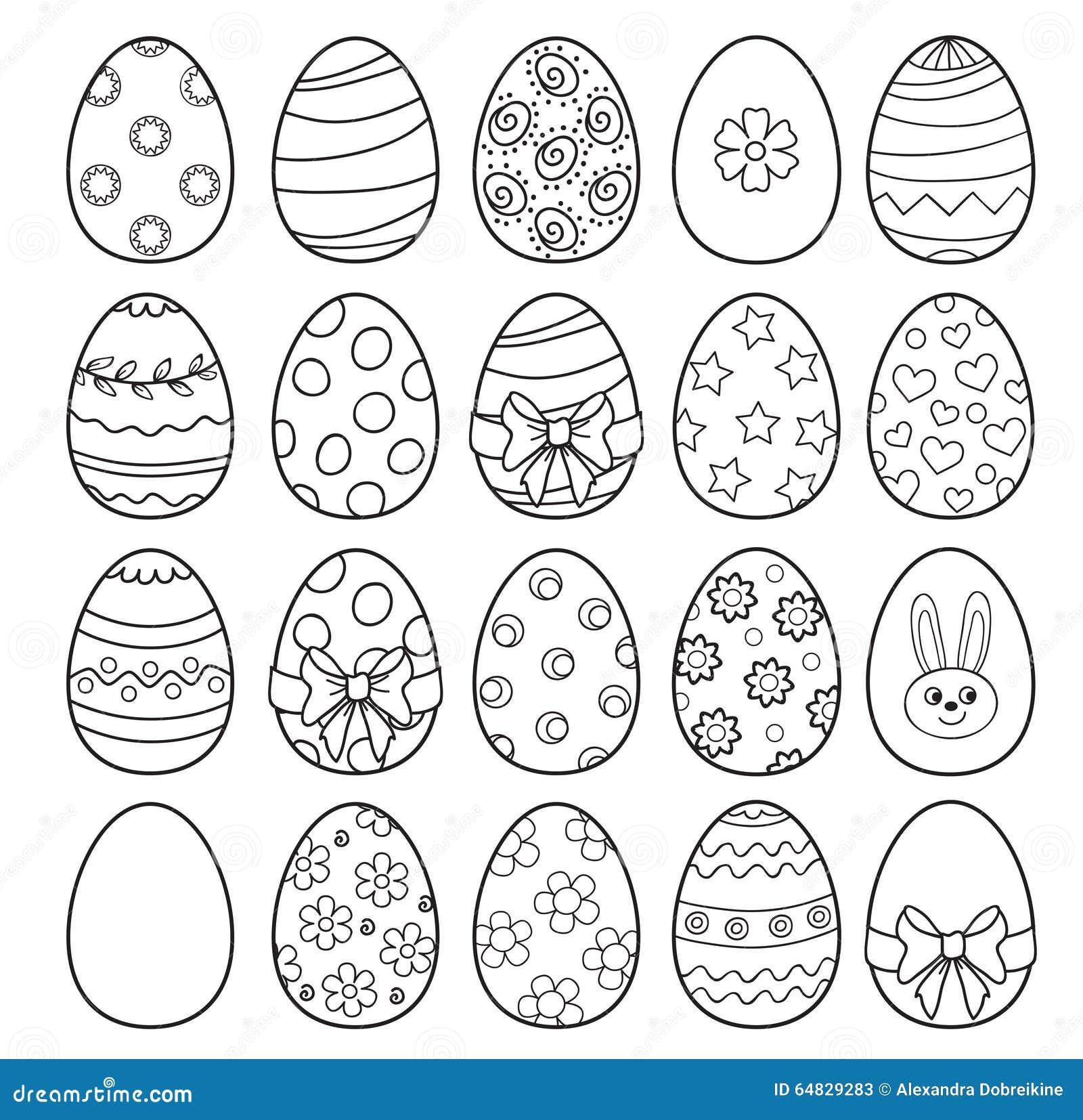 Libro Da Colorare Con Le Uova Di Pasqua Illustrazione Di Vettore