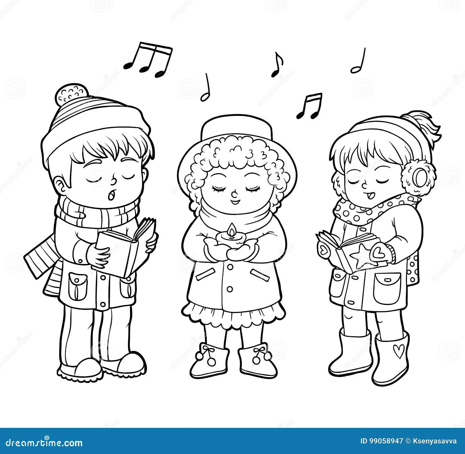 Libro Da Colorare Coro Di Natale Dei Bambini Illustrazione