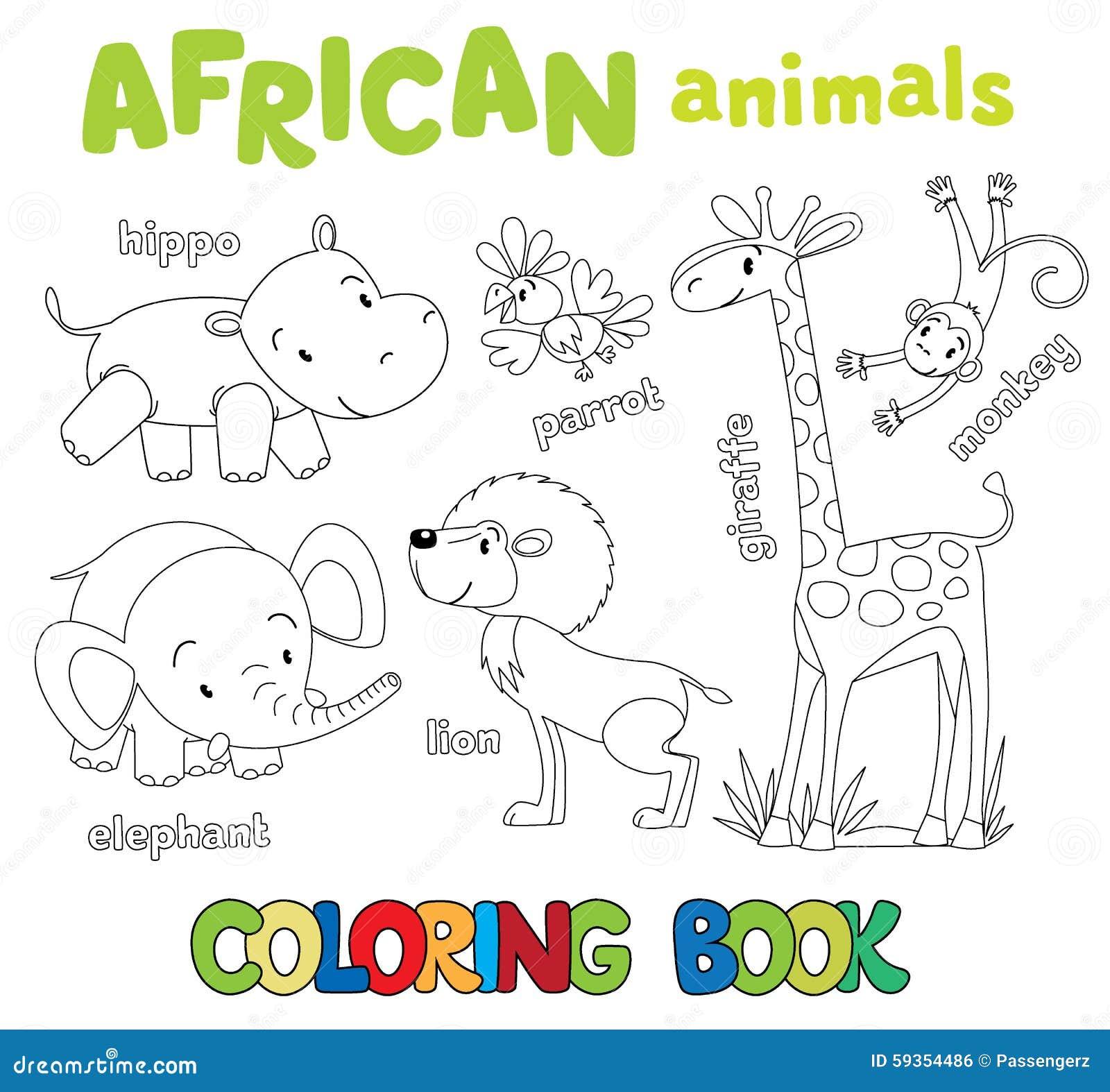Libro da colorare degli animali africani divertenti - Libro da colorare elefante libro ...