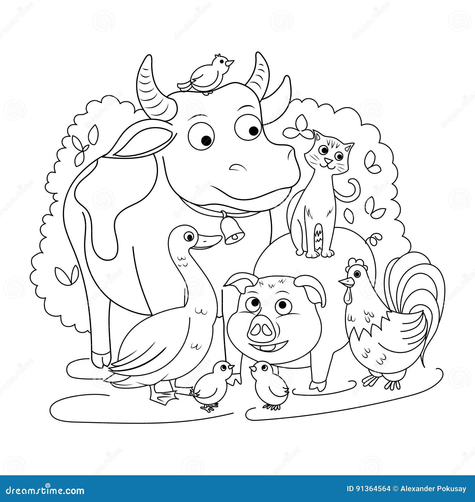 Libro Da Colorare Degli Animali Da Allevamento Per Il Vettore Dei