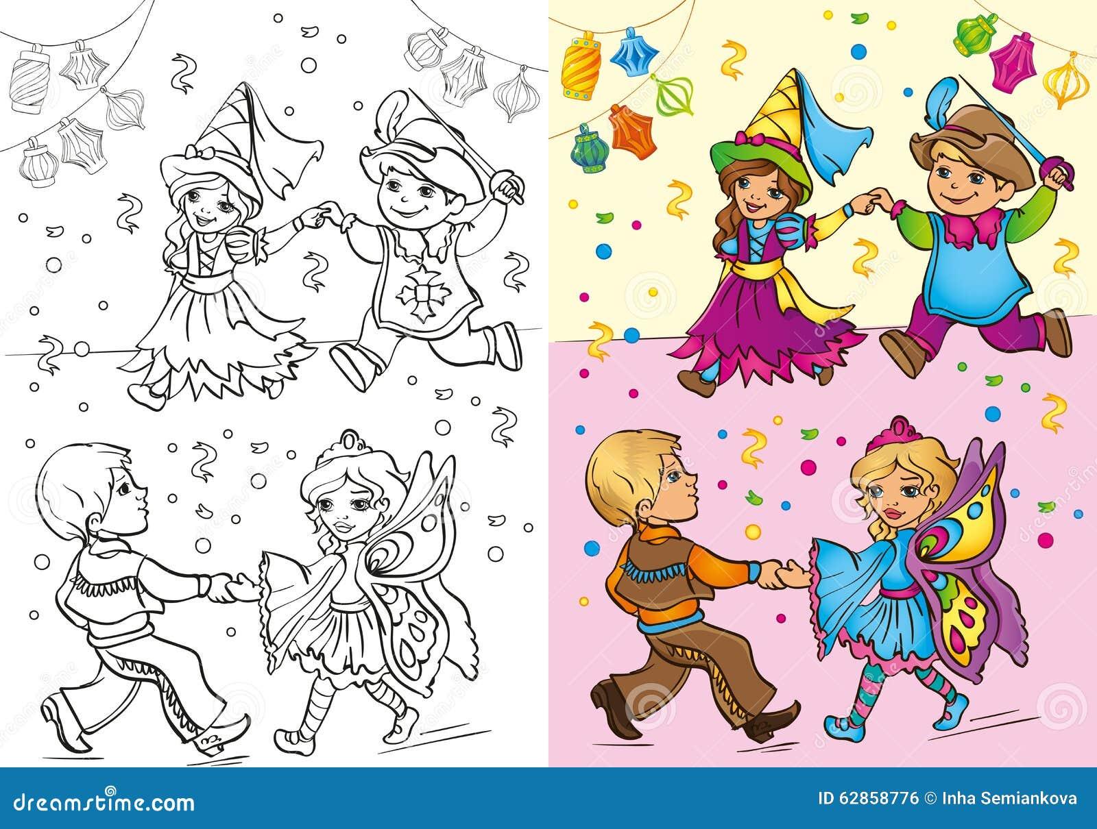 Libro da colorare dei bambini in costumi di carnevale - Toddler libro da colorare ...