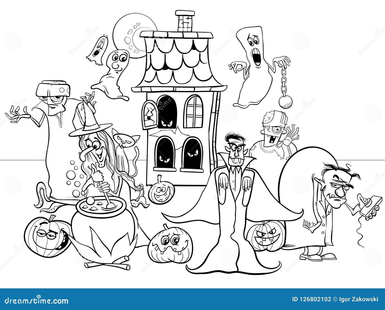 Libro Da Colorare Dei Personaggi Dei Cartoni Animati Di Festa Di