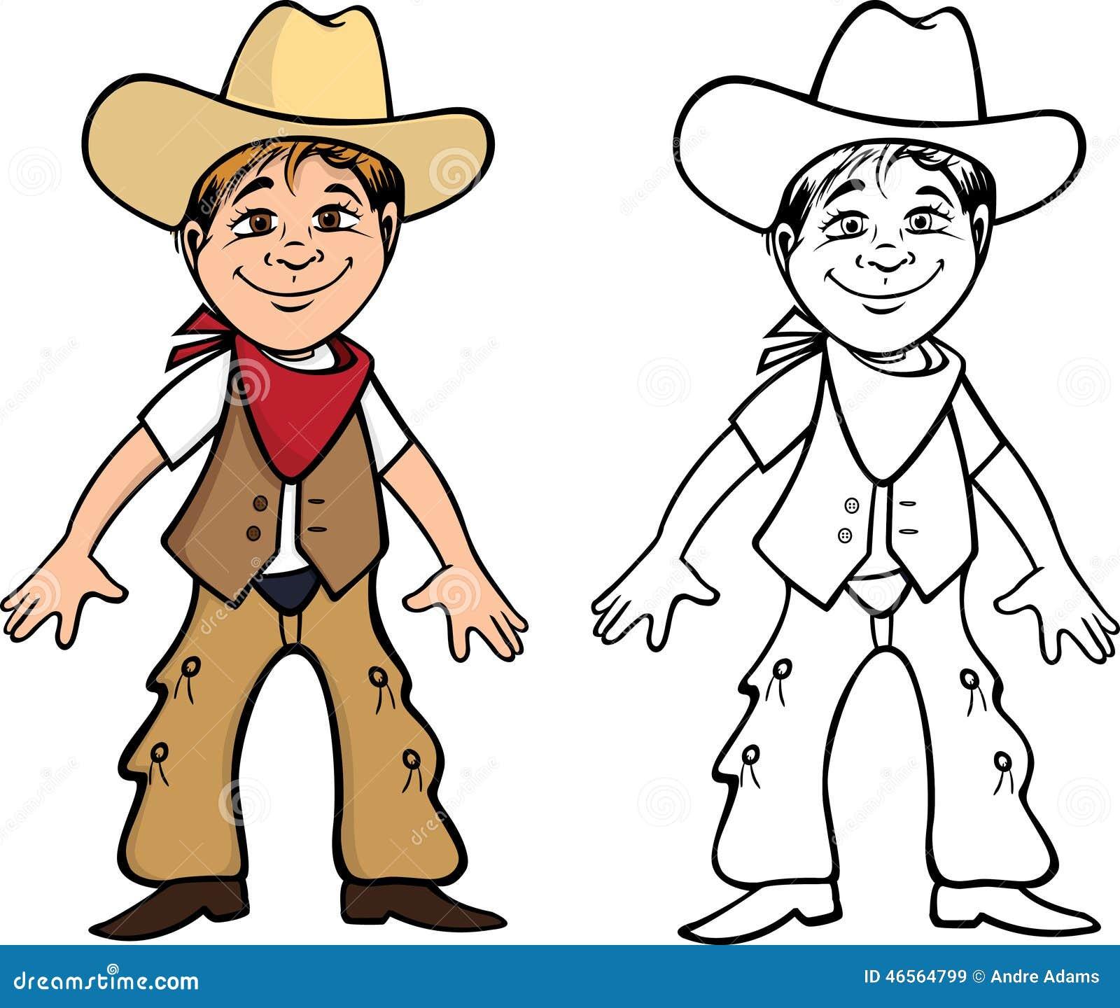 Libro da colorare del bambino del cowboy illustrazione di - Cowboy foglio da colorare ...