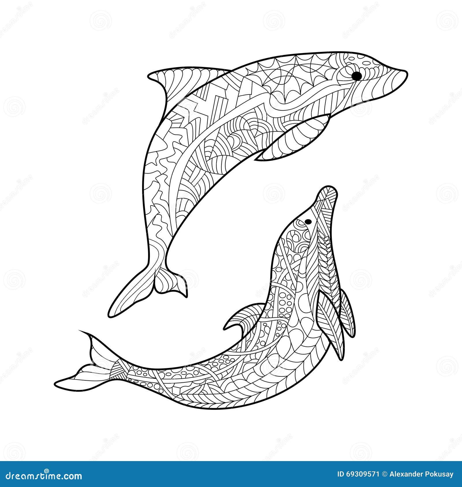 Libro Da Colorare Del Delfino Per Il Vettore Degli Adulti Illustrazione Vettoriale Illustrazione Di Disegno Tessuto 69309571
