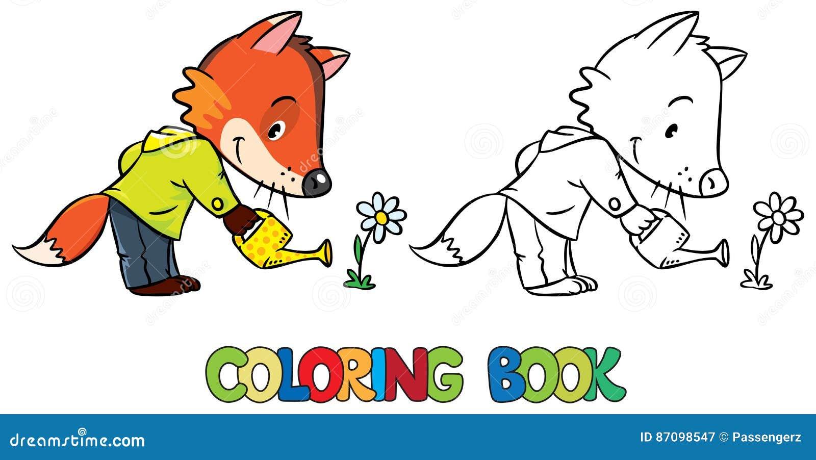 Libro Da Colorare Del Fiore D Innaffiatura Della Piccola Volpe