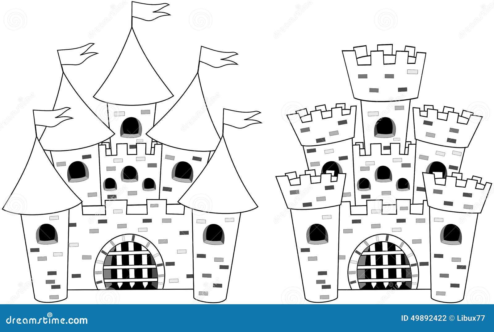 Koning Middeleeuwen Kleurplaat Libro Da Colorare Del Fumetto Di Castels Del Castello