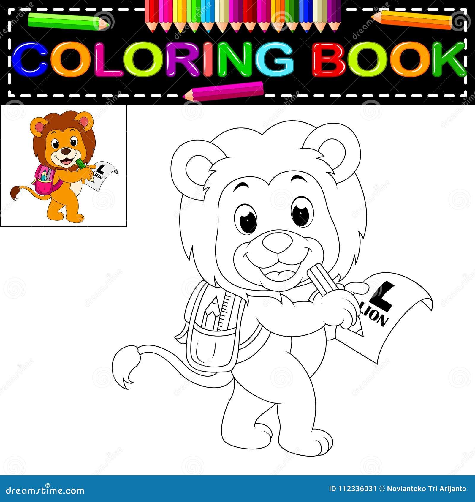 Libro Da Colorare Del Leone Illustrazione Vettoriale