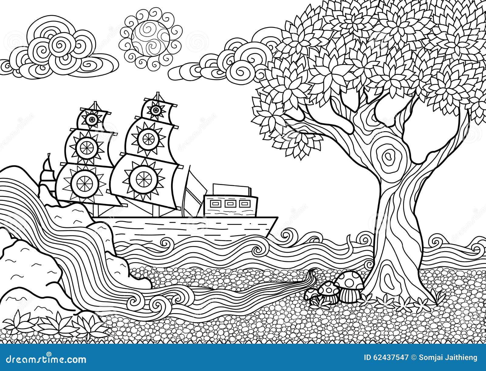 Libro da colorare del paesaggio illustrazione vettoriale - Libro da colorare elefante libro ...