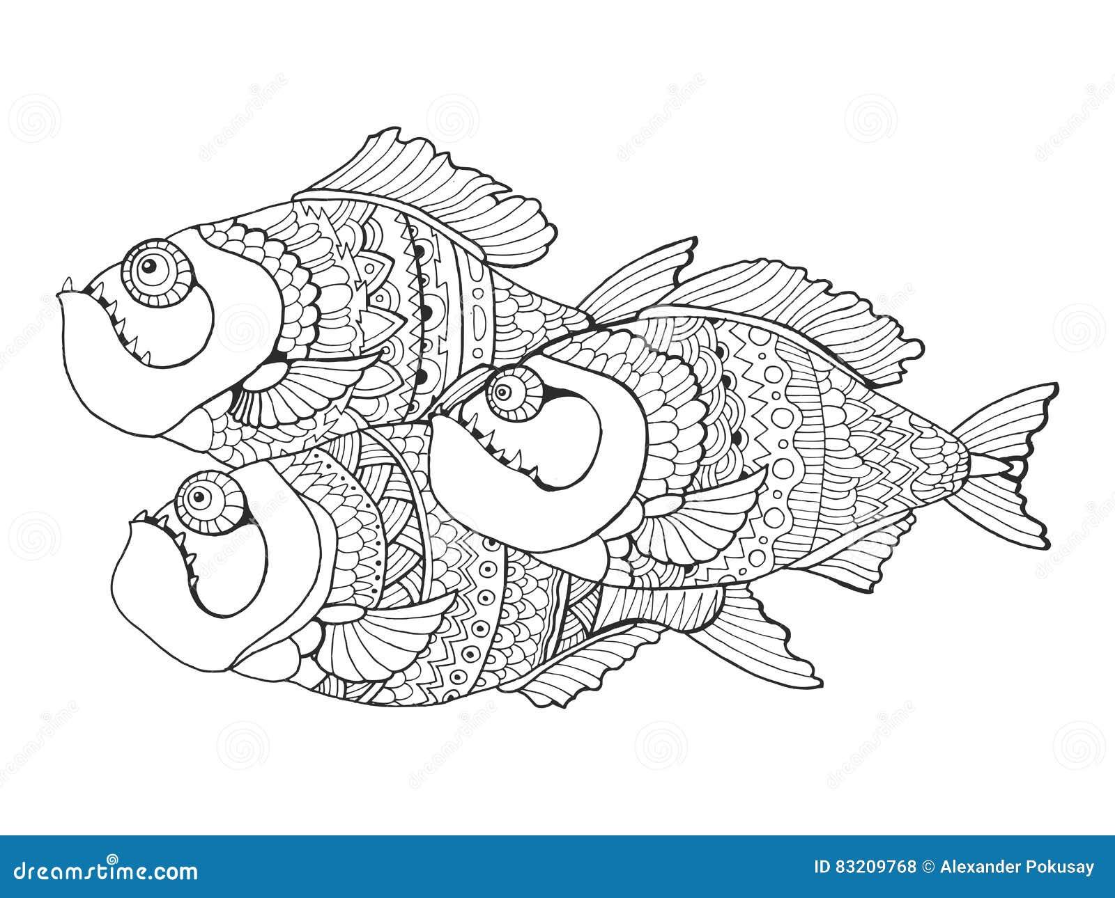 Pagine Da Colorare Per Adulti Libro Modello Astratto: Libro Da Colorare Del Piranha Per Il Vettore Degli Adulti