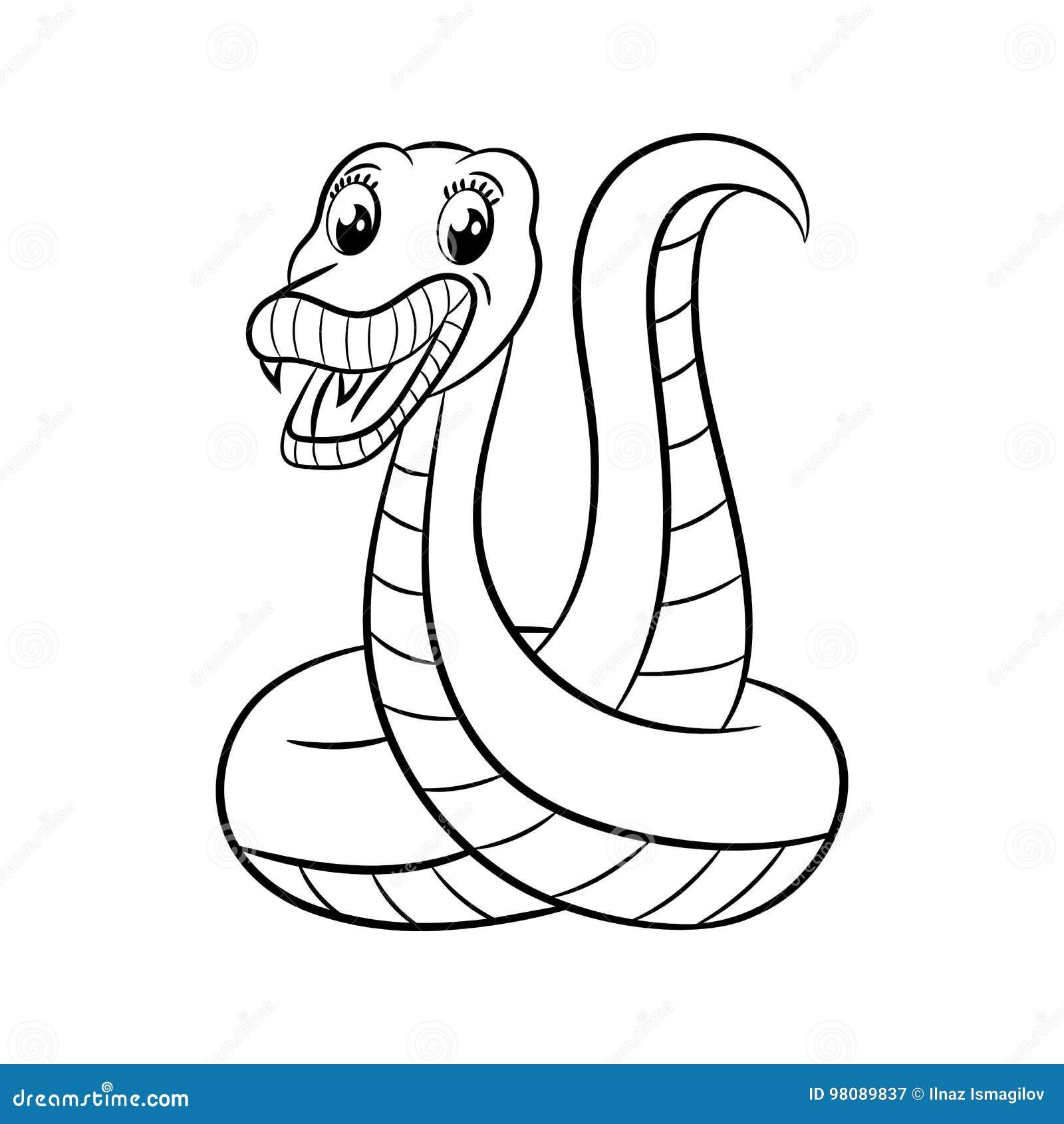 Libro Da Colorare Del Serpente Illustrazione Vettoriale