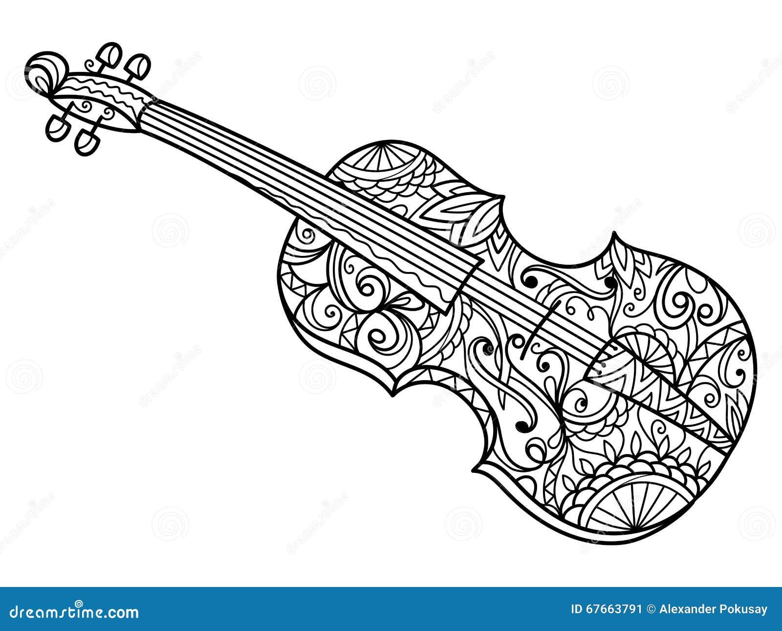 Pagine Da Colorare Per Adulti Libro Modello Astratto: Libro Da Colorare Del Violino Per Il Vettore Degli Adulti