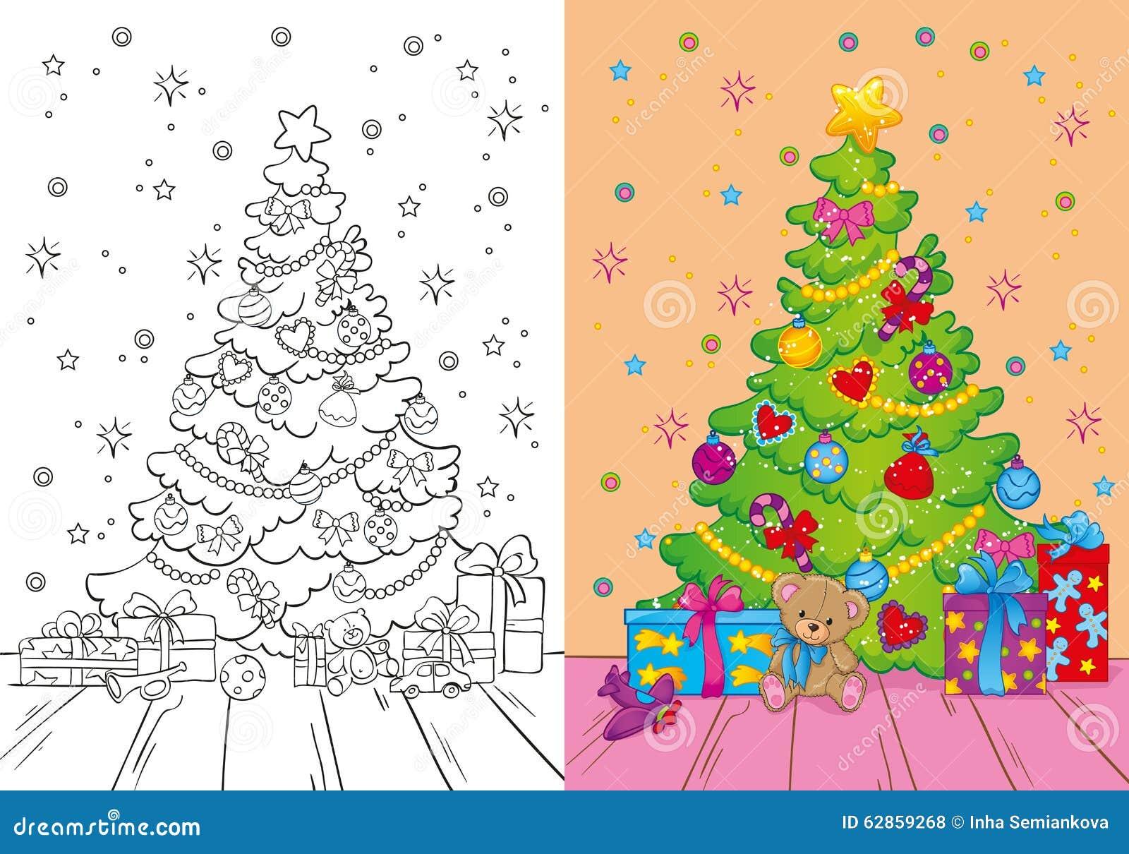 Libro Da Colorare Dellalbero Di Natale E Dei Regali Illustrazione