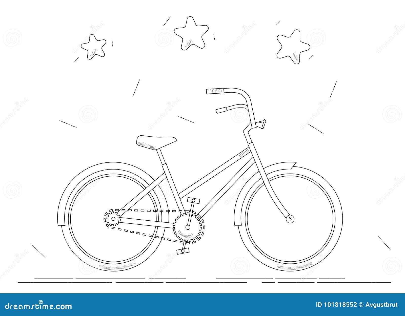 Libro Da Colorare Della Bici Disegno A Tratteggio In Bianco E Nero