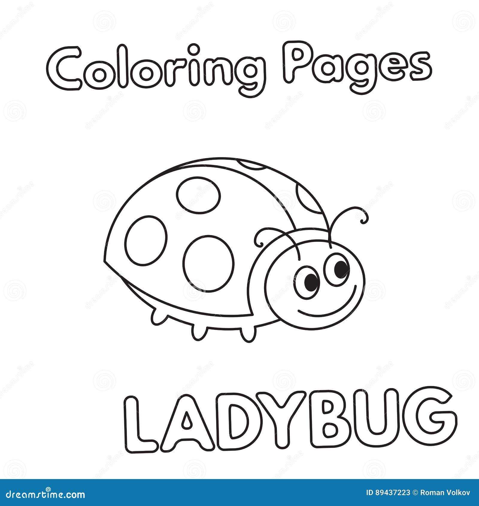 Libro Da Colorare Della Coccinella Del Fumetto Illustrazione