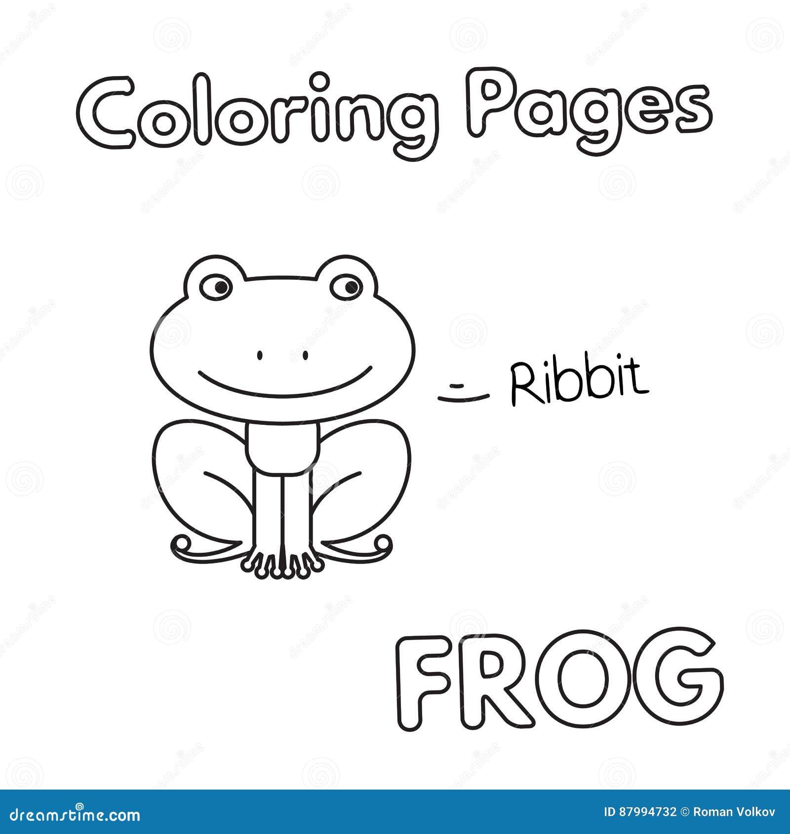Libro Da Colorare Della Rana Del Fumetto Illustrazione Vettoriale