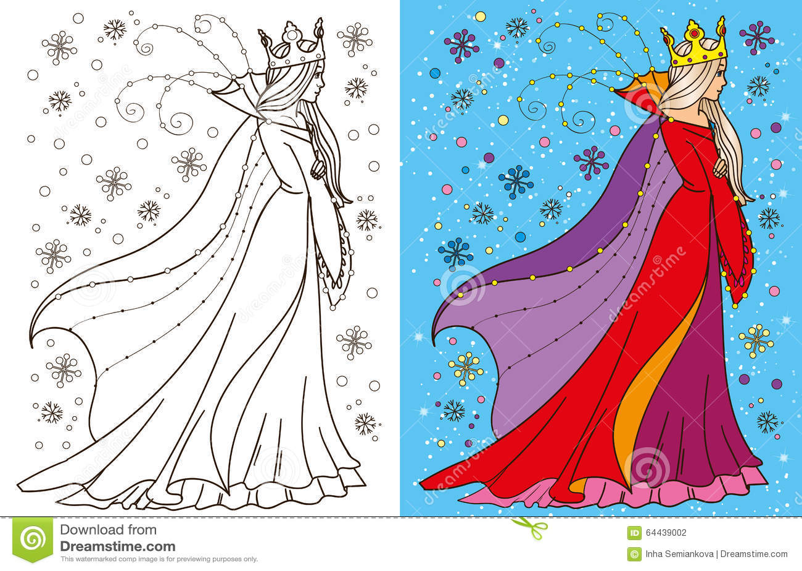 Libro da colorare della regina della neve illustrazione - Contorni delle immagini da colorare ...
