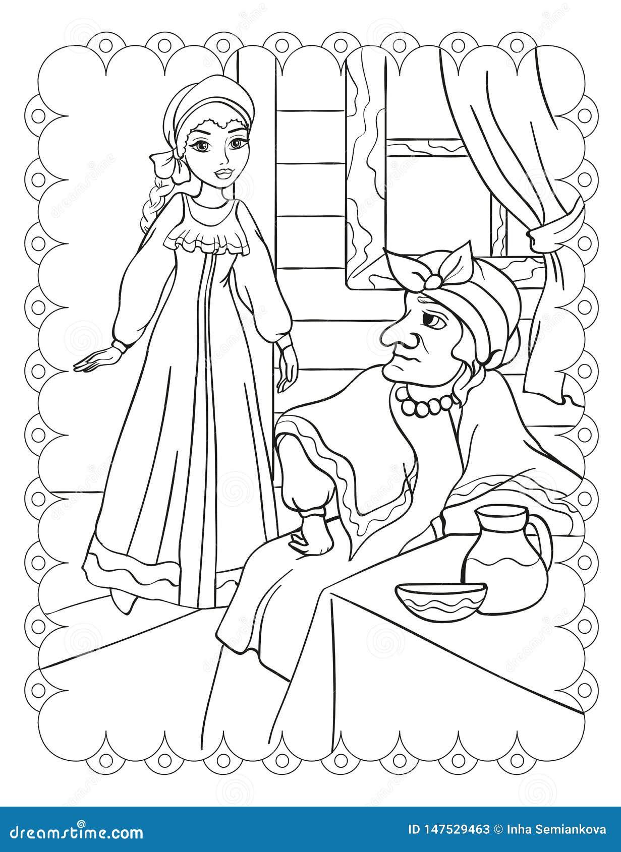 Libro da colorare di belle ragazza e matrigna