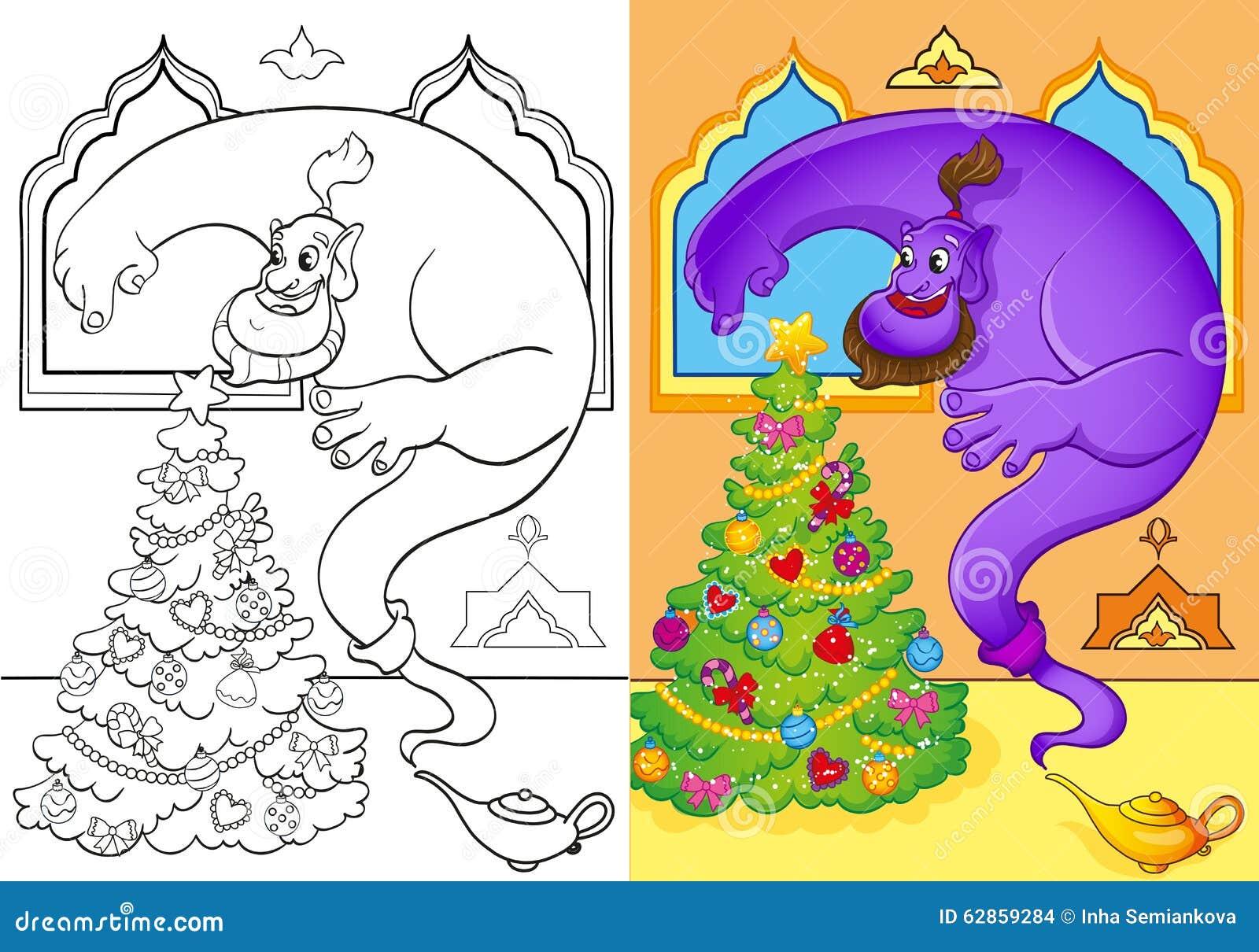 Libro Da Colorare Di Genie Conjured Un Albero Di Natale