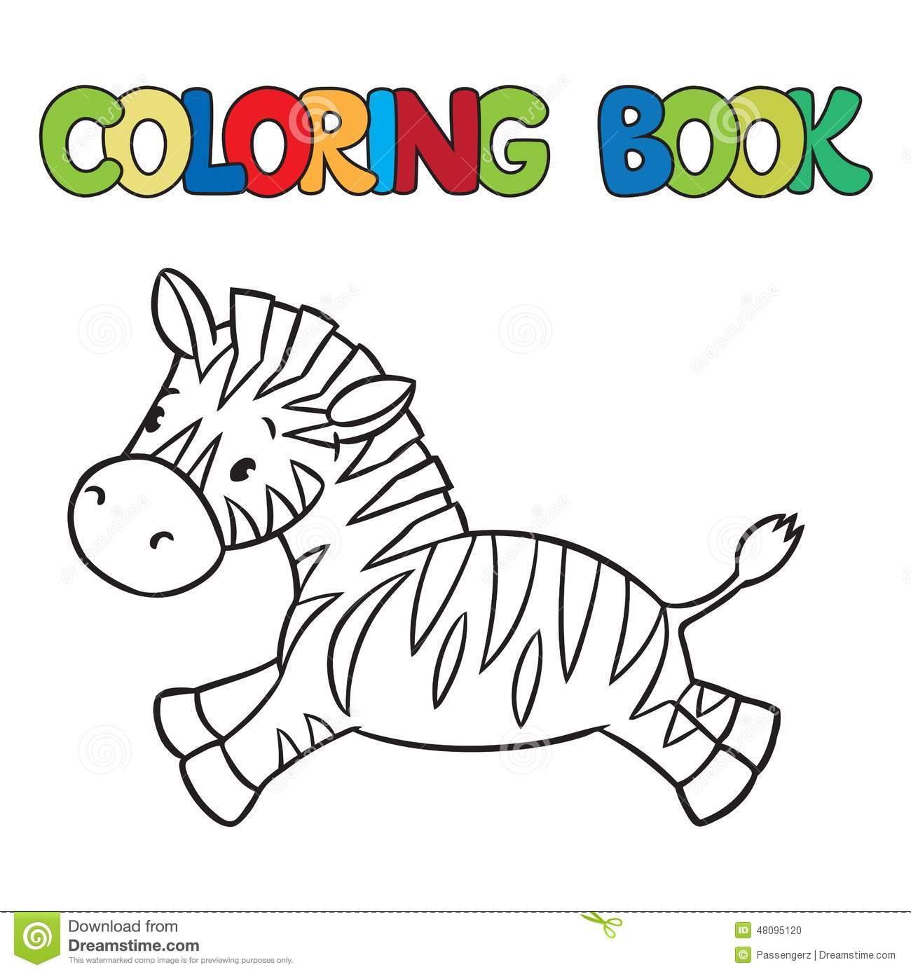 Libro Da Colorare Di Piccola Zebra Illustrazione Di Stock