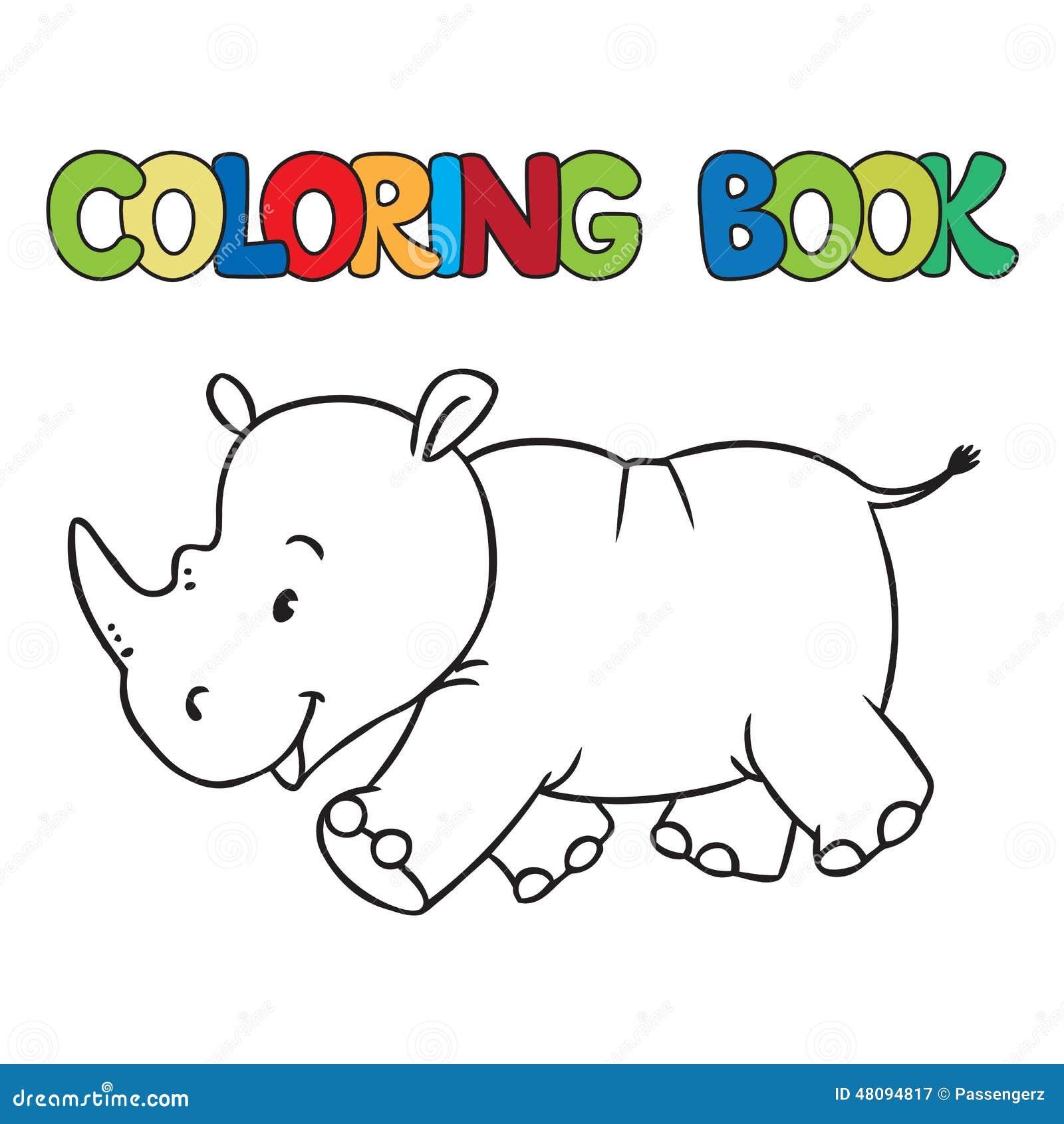 Libro da colorare di poco rinoceronte illustrazione di - Libro da colorare elefante libro ...