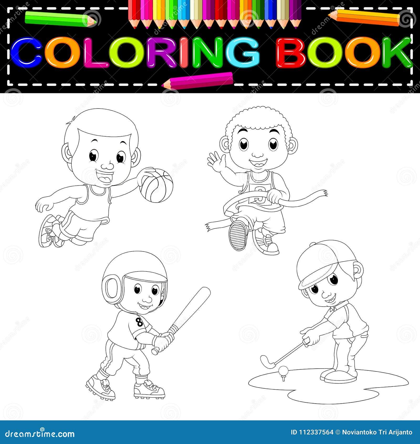 Libro Da Colorare Di Sport Illustrazione Vettoriale Illustrazione