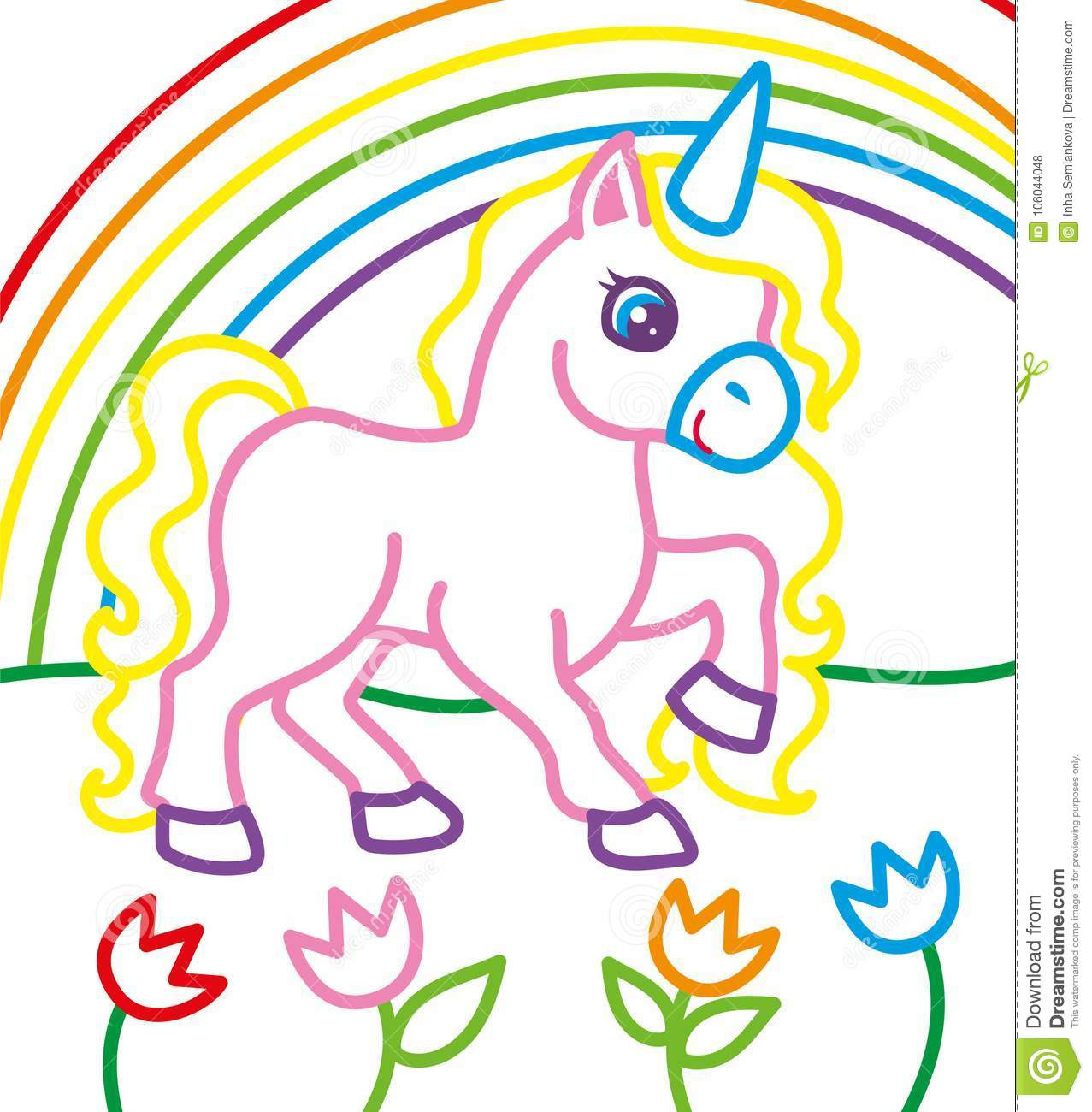 libro da colorare di unicorn near rainbow illustrazione