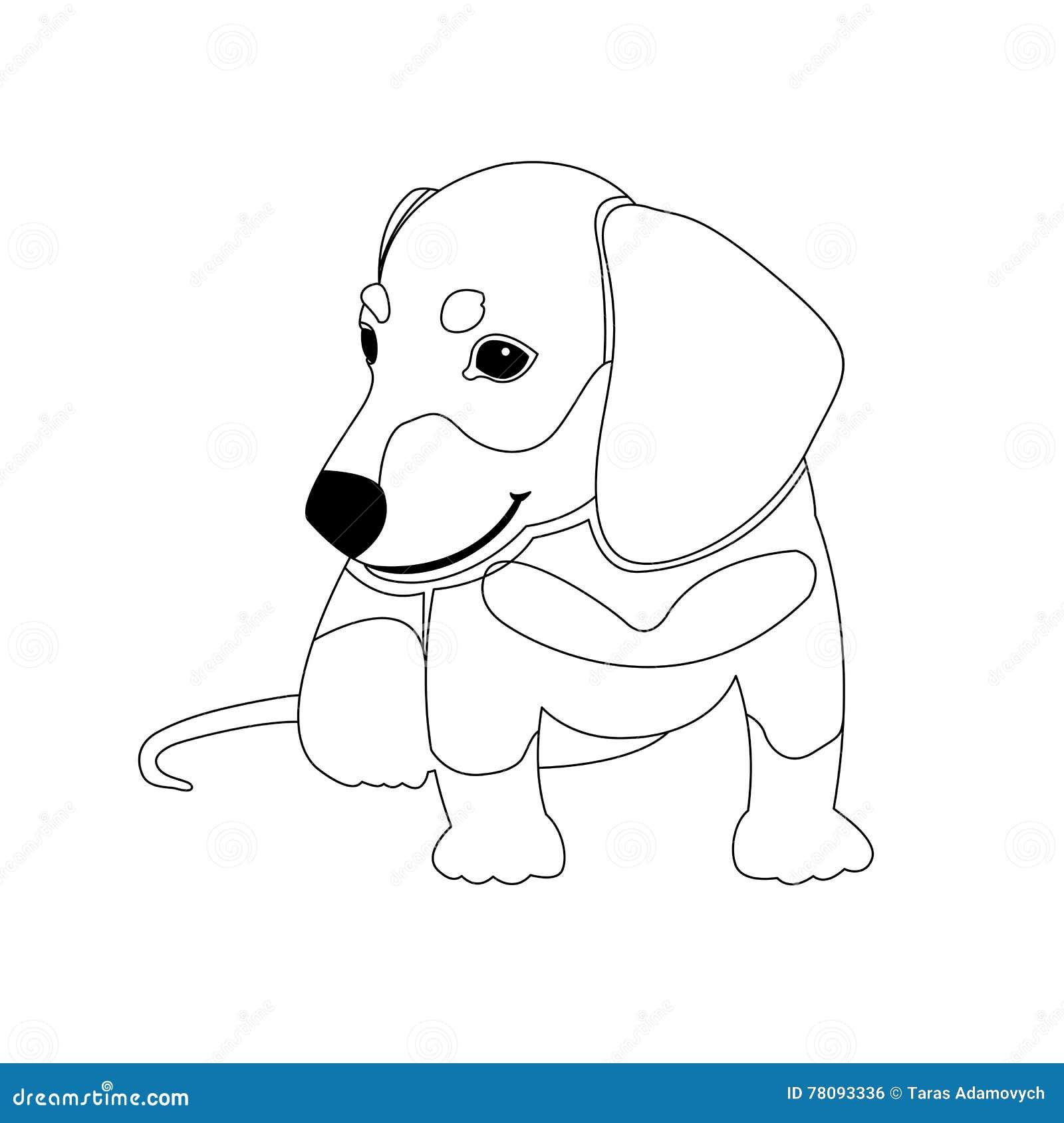 Libro da colorare di vettore del cucciolo del bassotto - Cucciolo da colorare stampabili ...