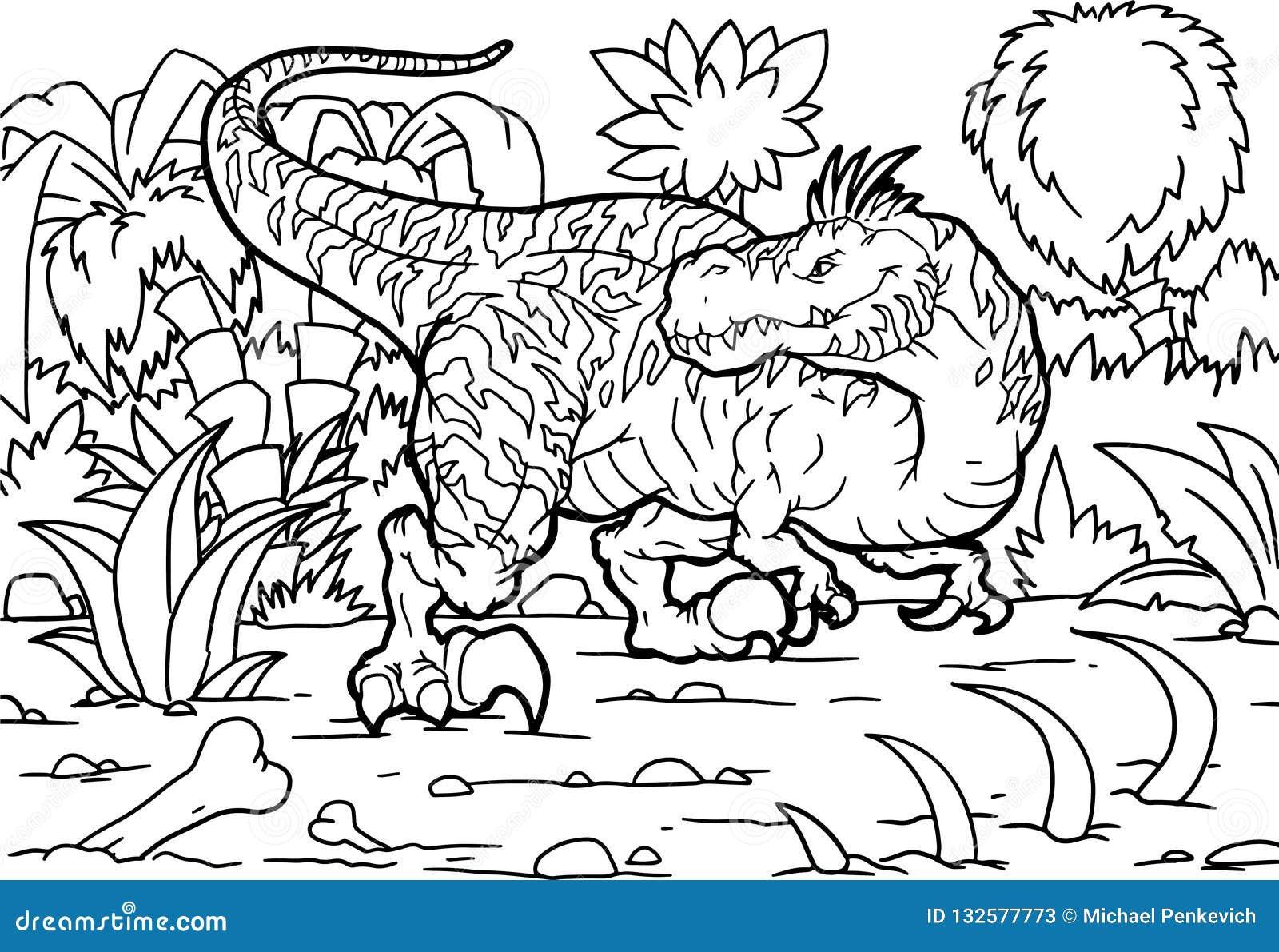 Libro Da Colorare Dinosauro Del Velociraptor Colorante