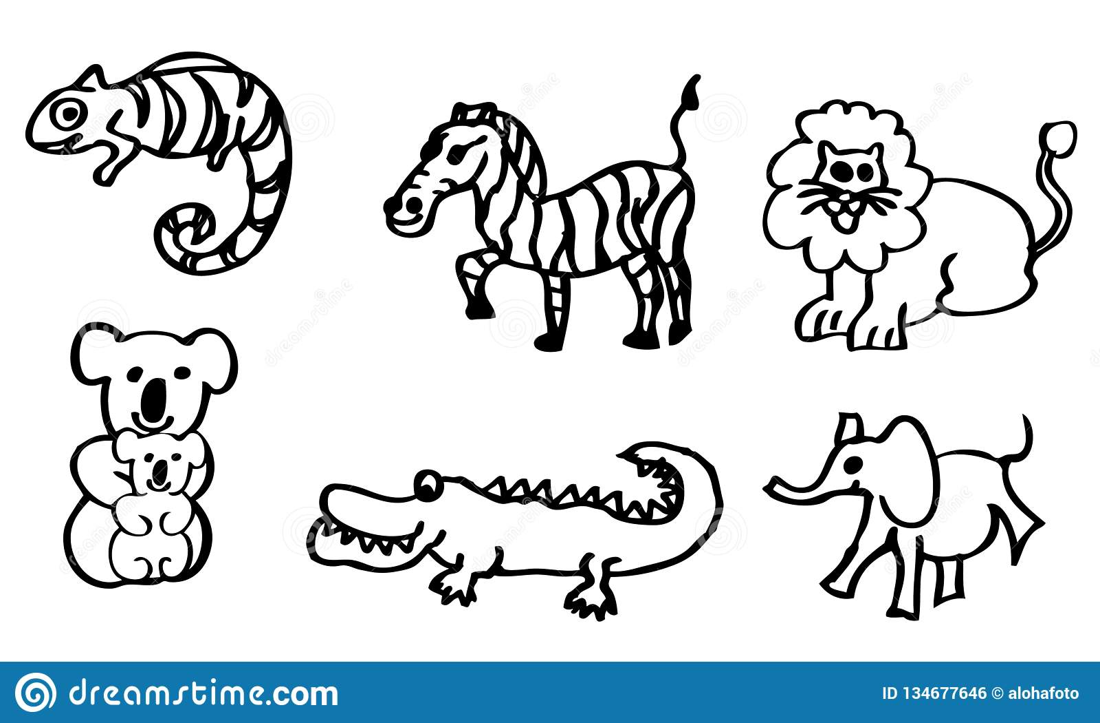 Disegni Da Colorare Bambini Animali.Libro Da Colorare Disegni Circa Gli Animali Selvatici Per I