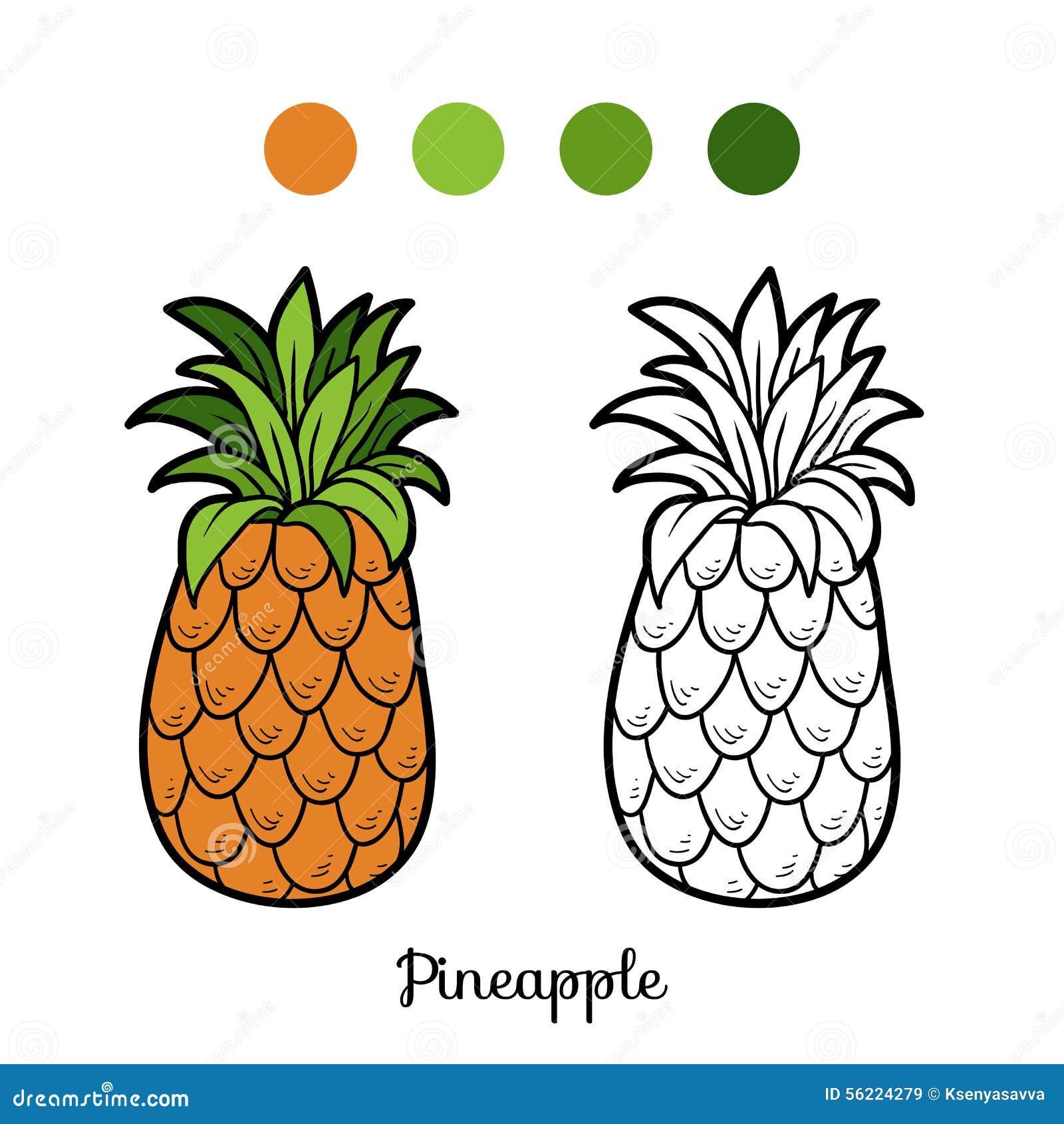 Libro Da Colorare Frutta E Verdure Ananas Illustrazione