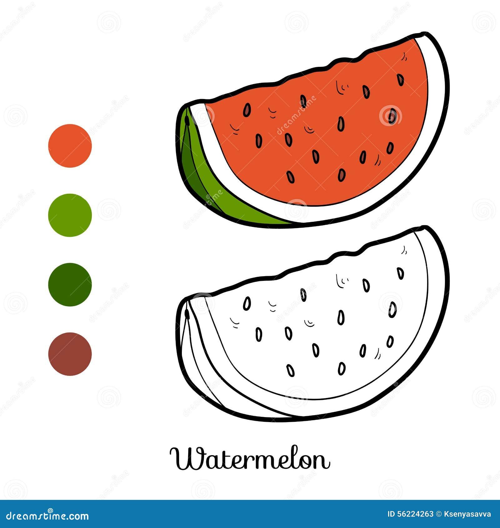 Libro Da Colorare Frutta E Verdure Anguria Illustrazione