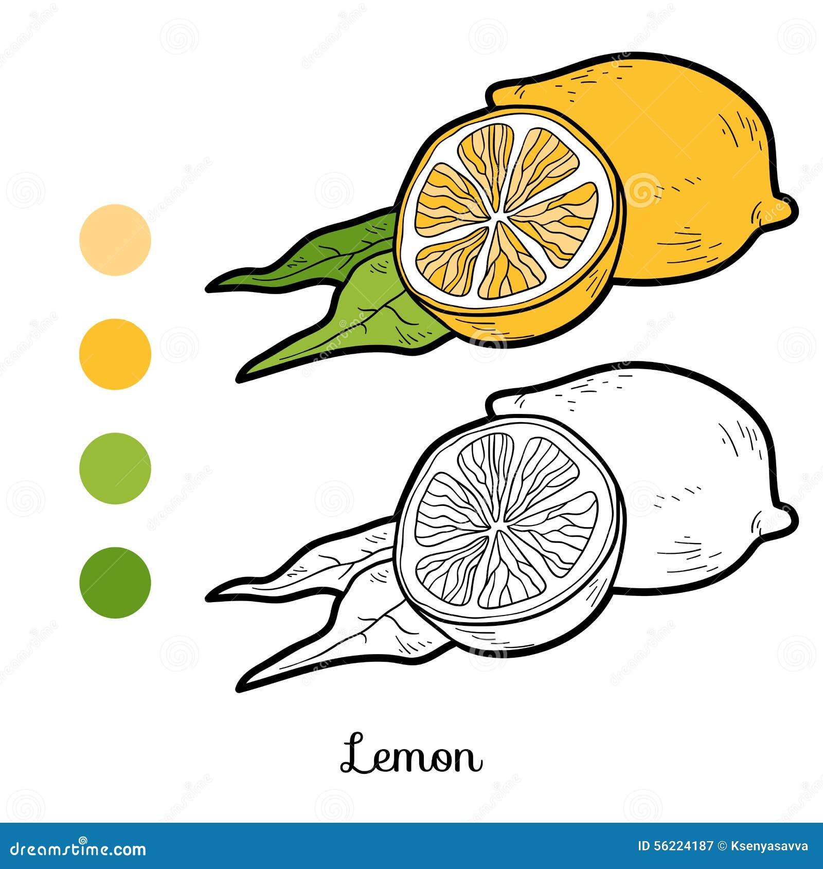 Libro da colorare frutta e verdure limone illustrazione - Colorare le pagine di verdure ...