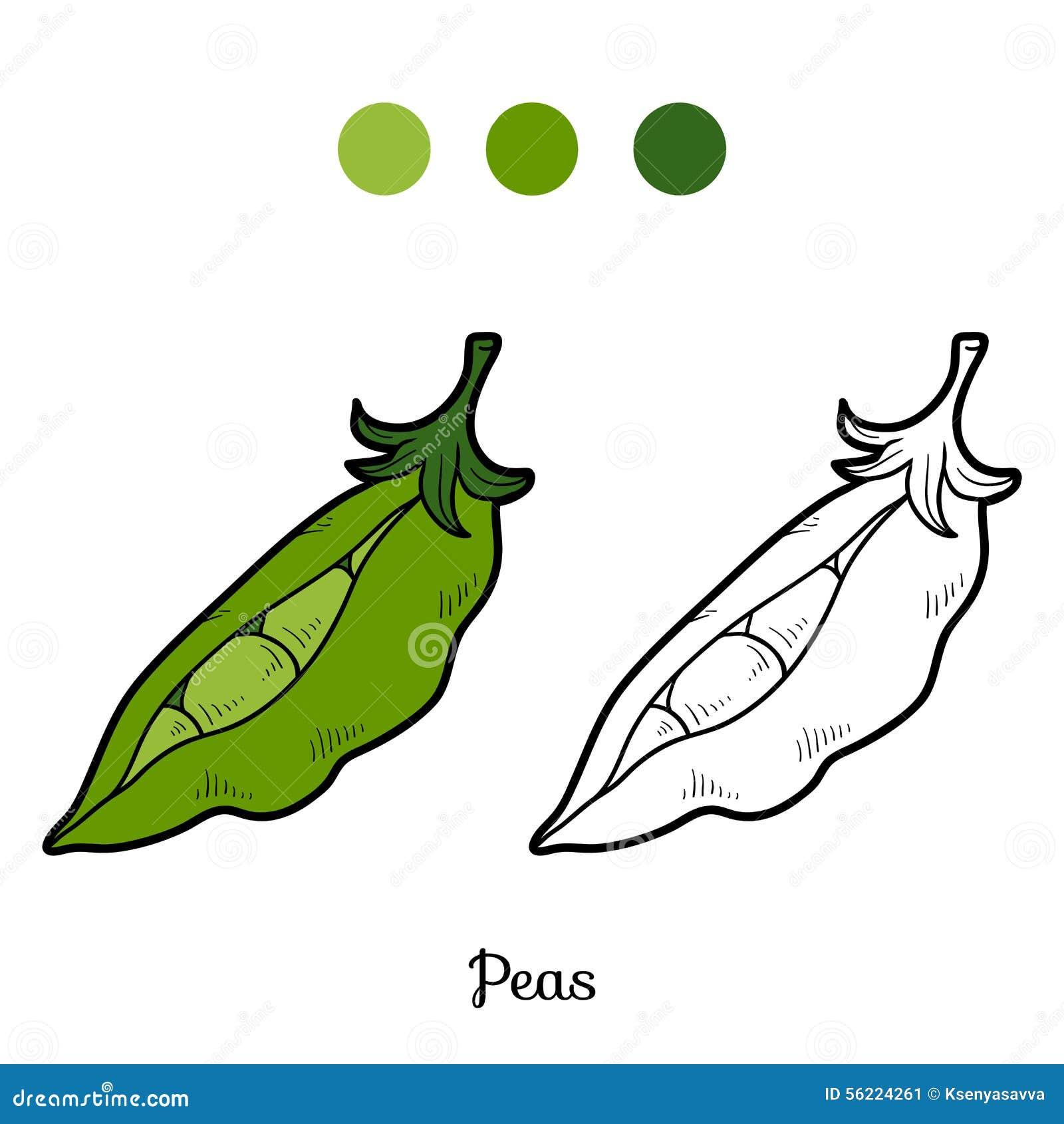 Libro da colorare frutta e verdure piselli - Colorare le pagine di verdure ...