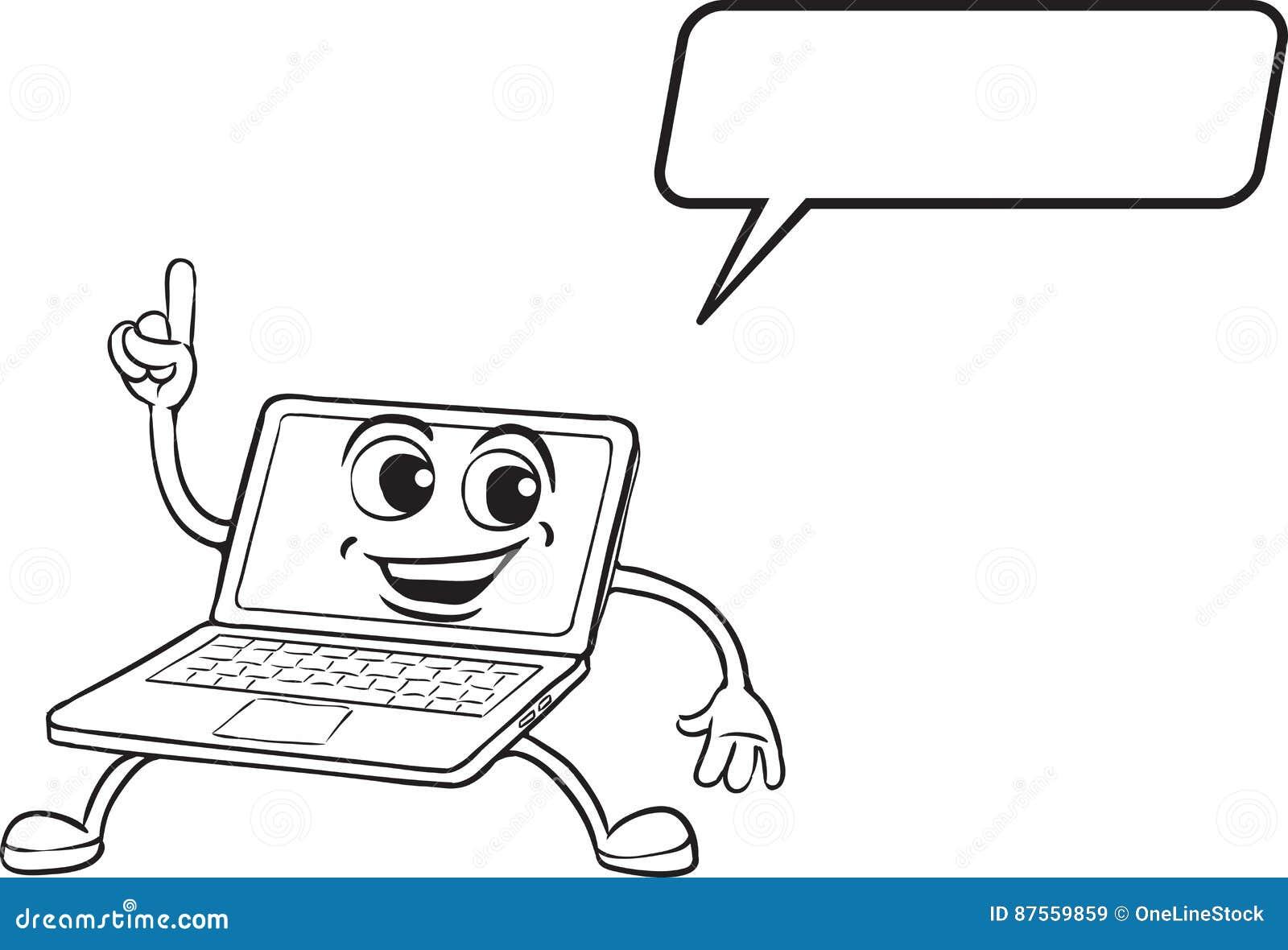 Libro Da Colorare Fumetto Che Indica Il Carattere Del Computer