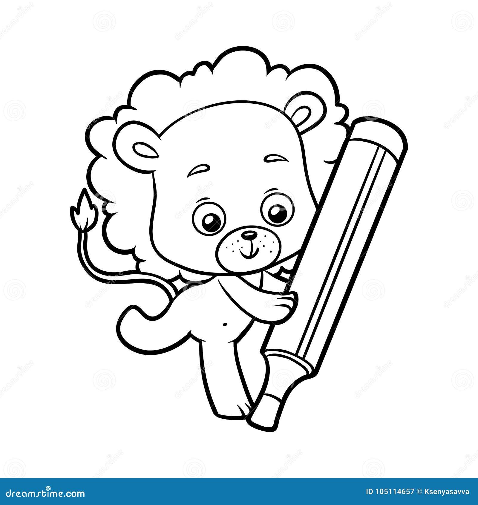 Libro Da Colorare Leone Illustrazione Vettoriale Illustrazione Di