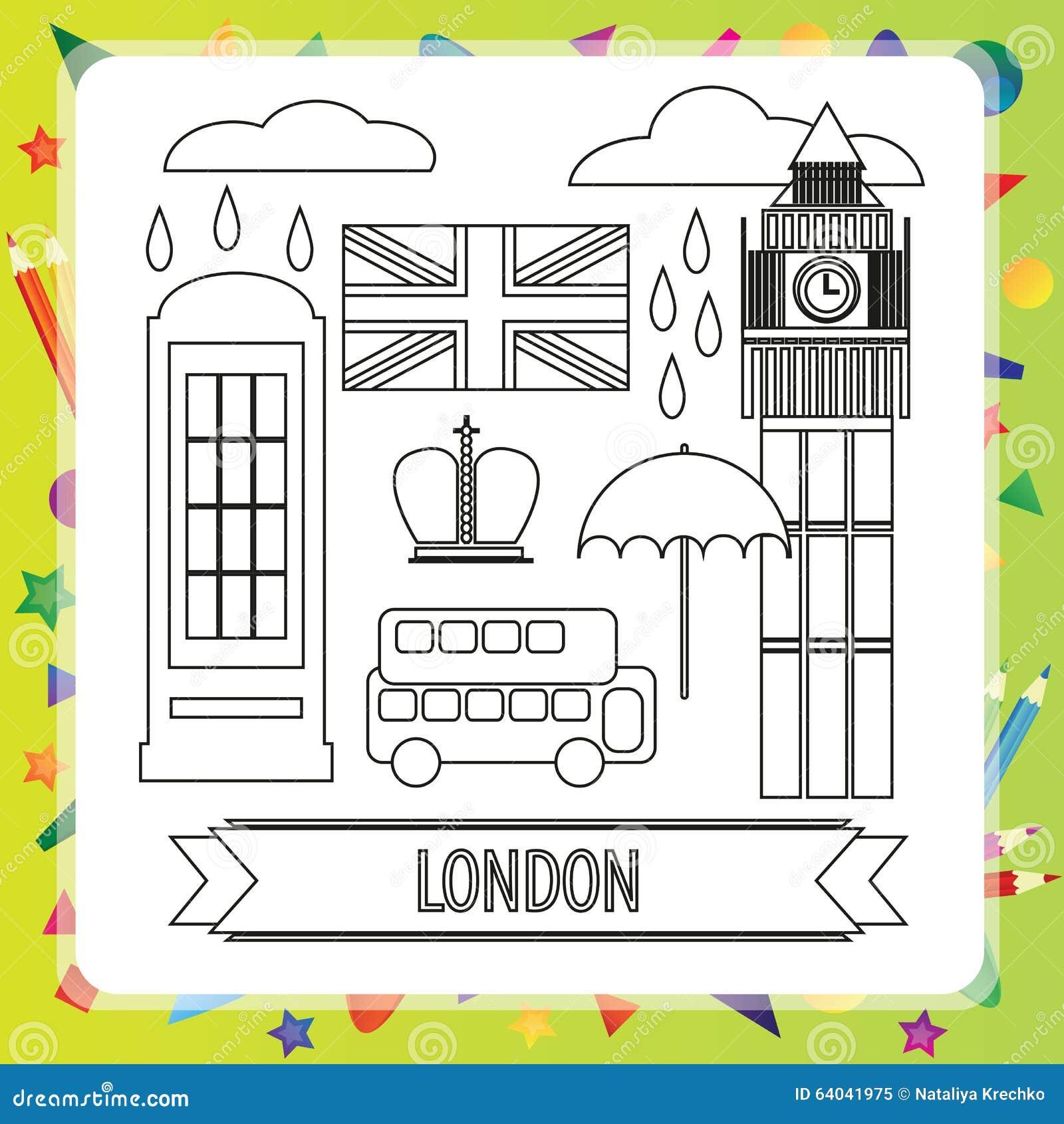 Immagini Di Londra Da Colorare.Libro Da Colorare Londra Illustrazione Vettoriale Illustrazione