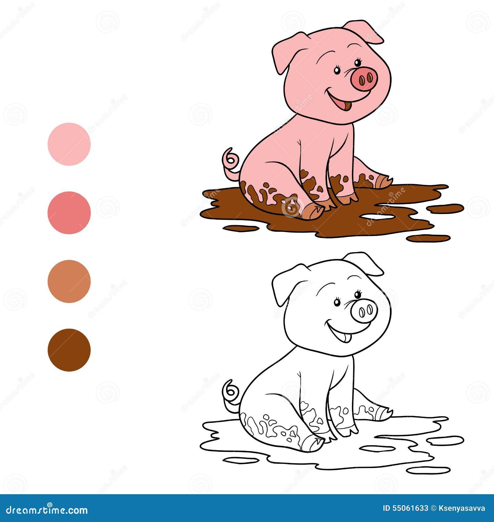 Libro da colorare maiale illustrazione vettoriale for Maialino disegno per bambini