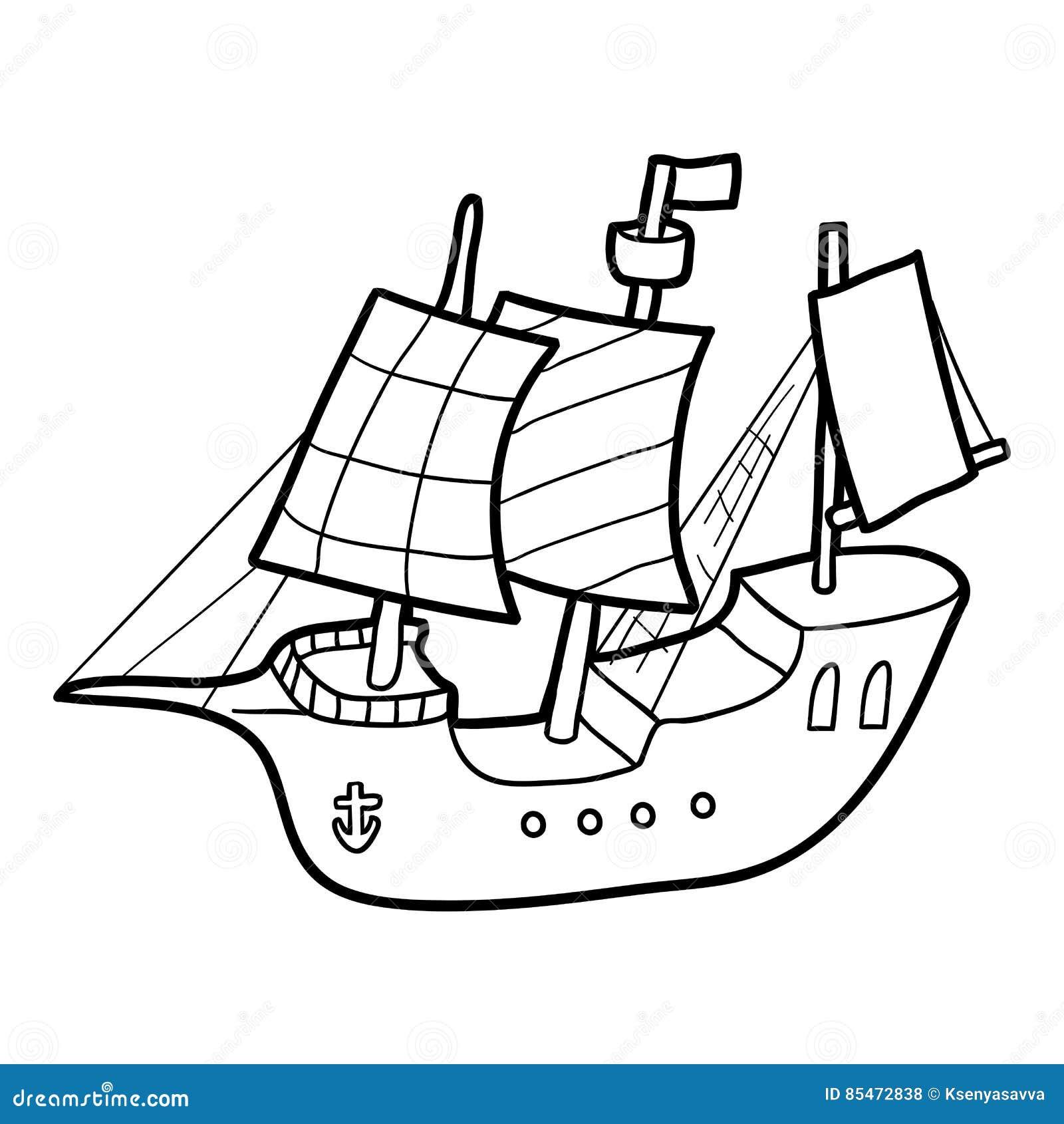 Libro Da Colorare Nave Di Navigazione Illustrazione Vettoriale