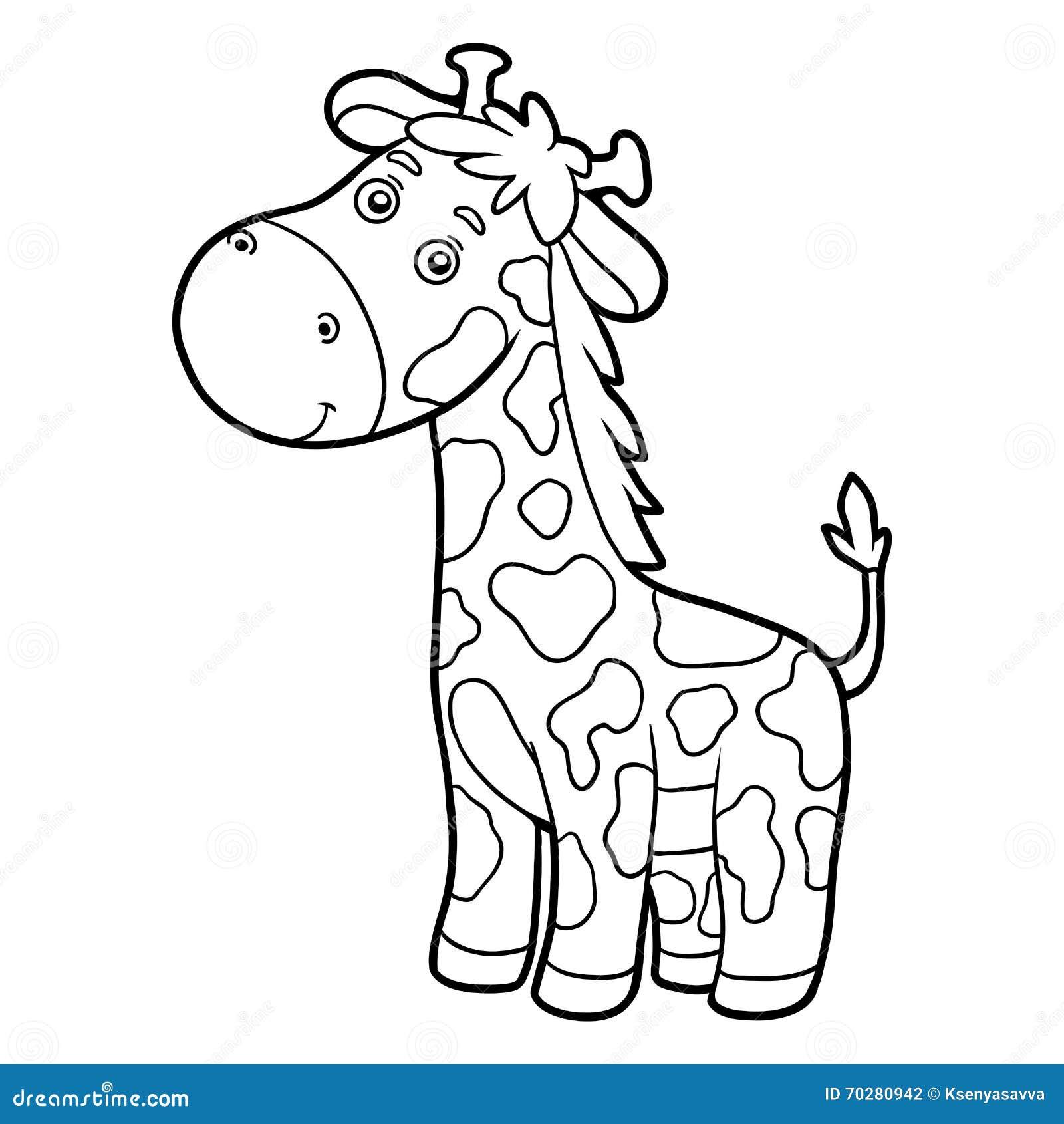 Libro Da Colorare Pagina Di Coloritura Giraffa Illustrazione