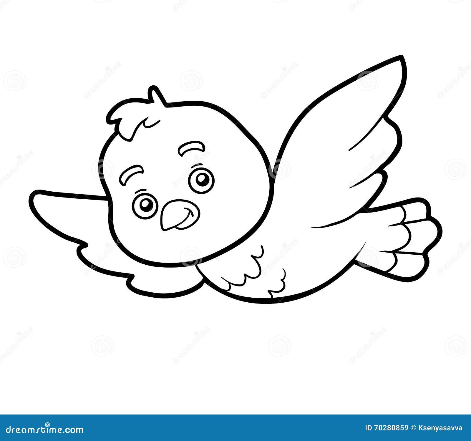 Libro Da Colorare Pagina Di Coloritura Uccello Illustrazione Vettoriale Illustrazione Di Cheerful Cielo 70280859